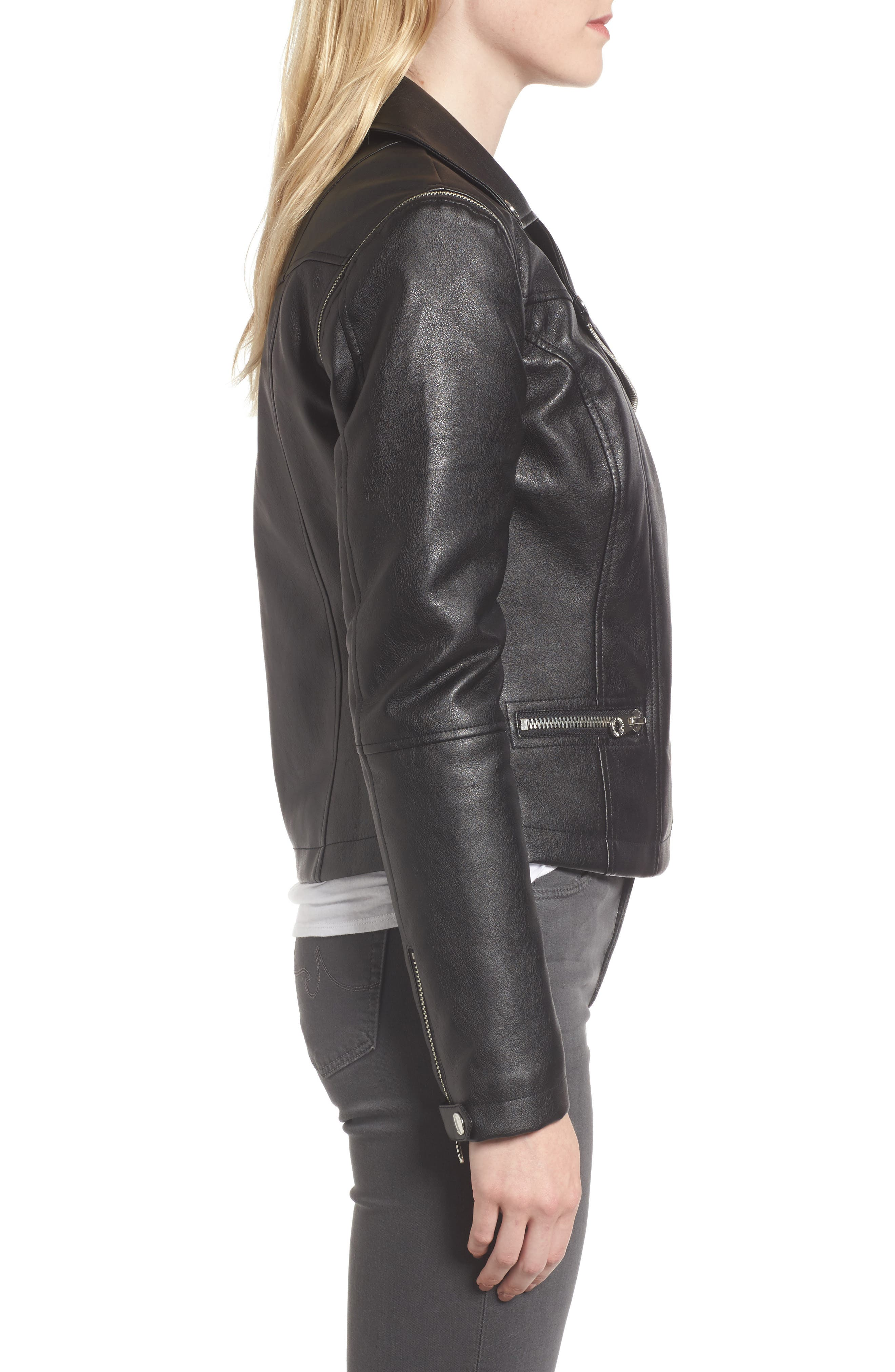 Alternate Image 3  - Members Only Faux Leather Biker Jacket