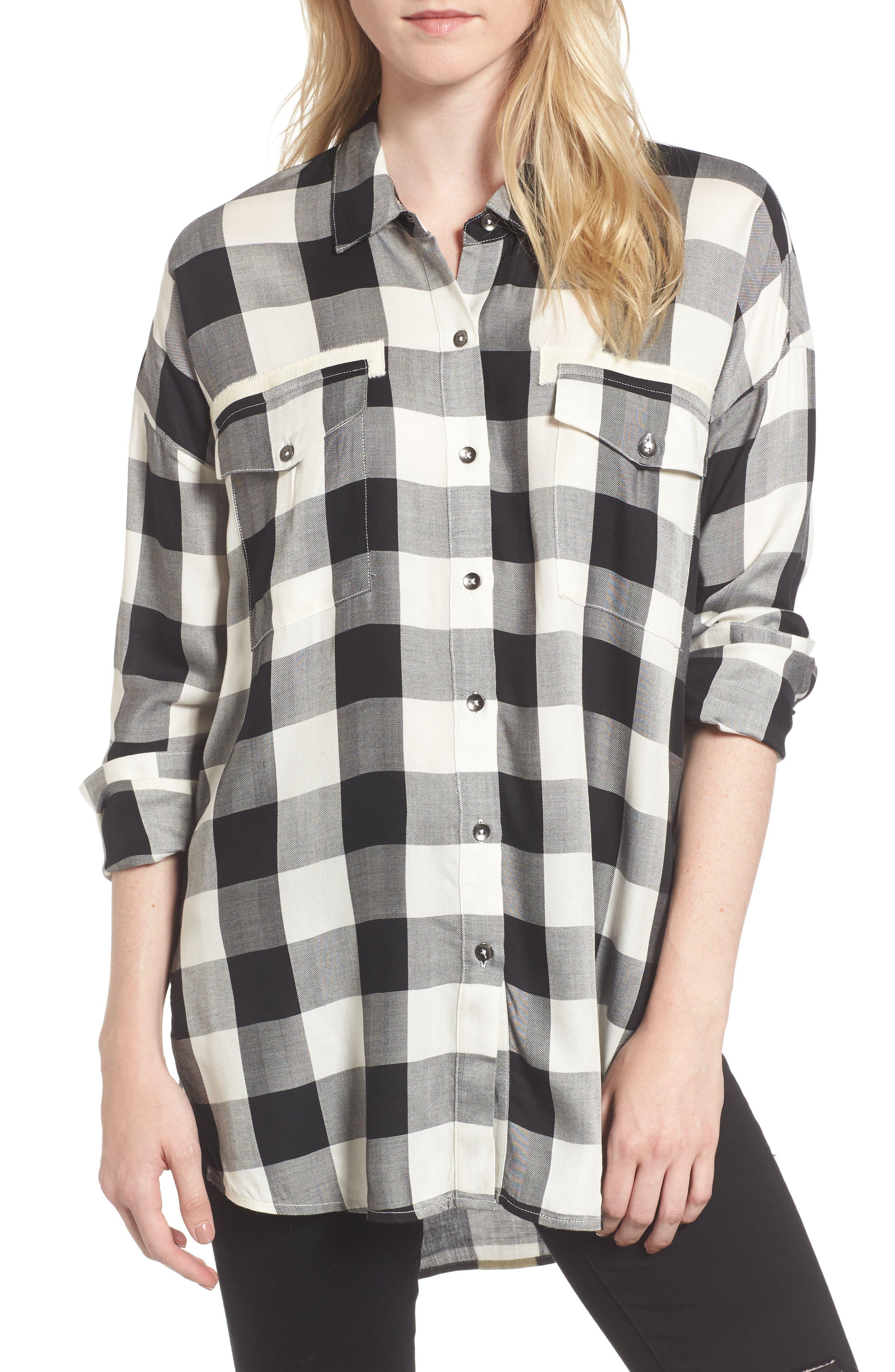 Buffalo Check Shirt,                         Main,                         color, Offwhite/ Black