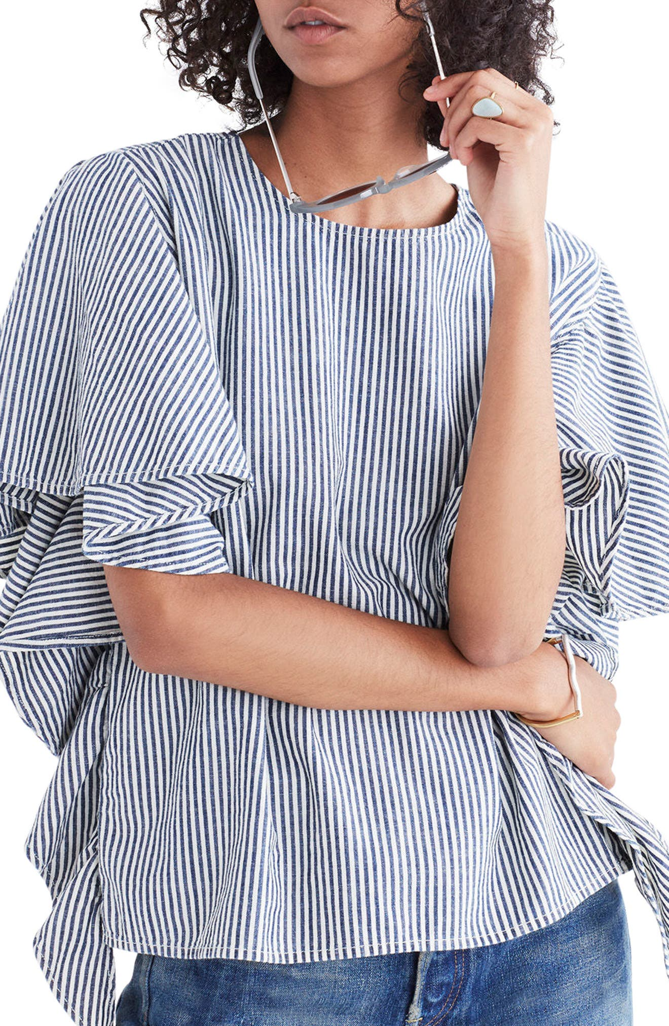 Stripe Butterfly Sleeve Top,                         Main,                         color, Chambray Stripe