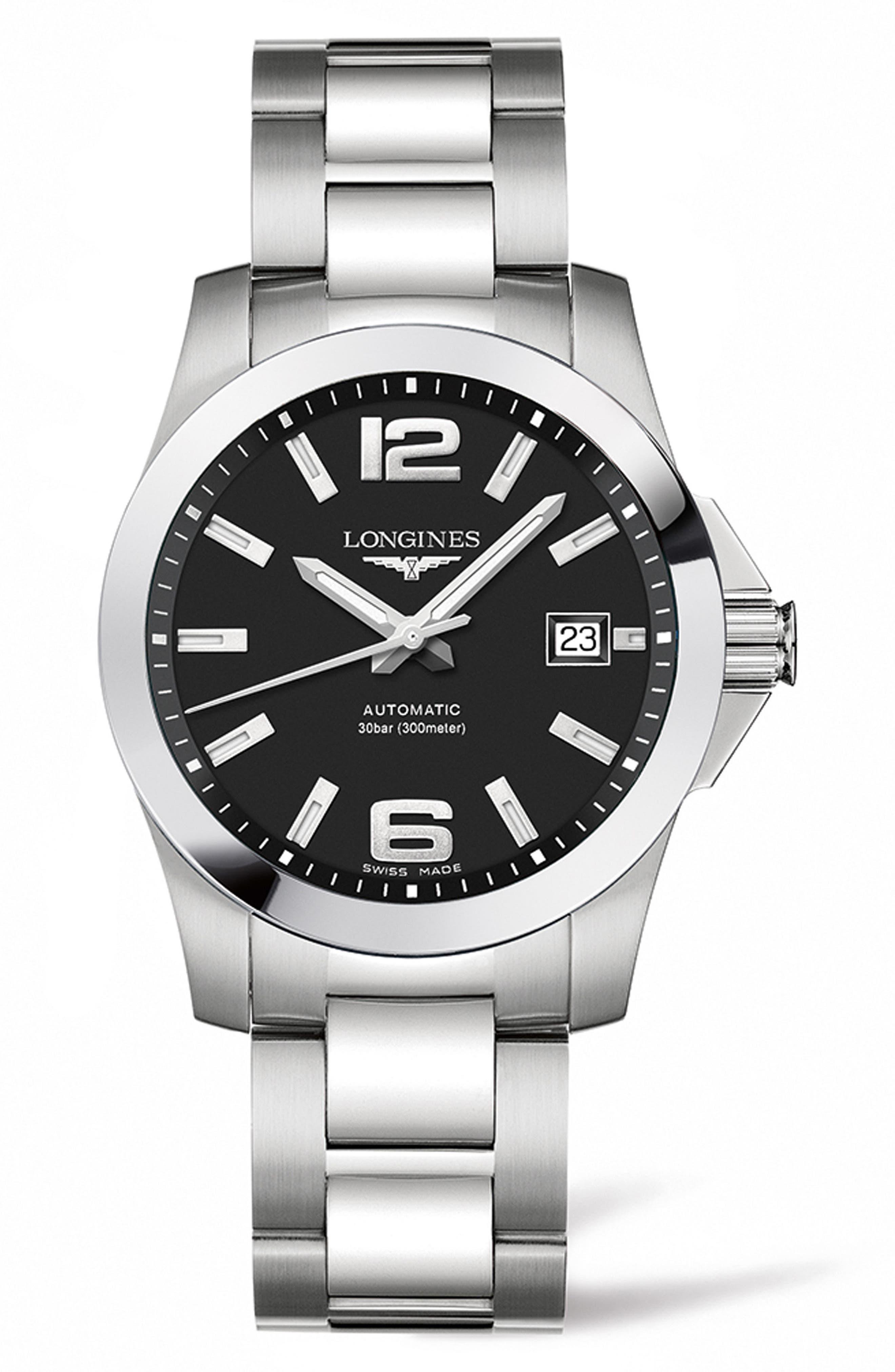 Conquest Automatic Bracelet Watch, 39mm,                         Main,                         color, Silver/ Black/ Silver