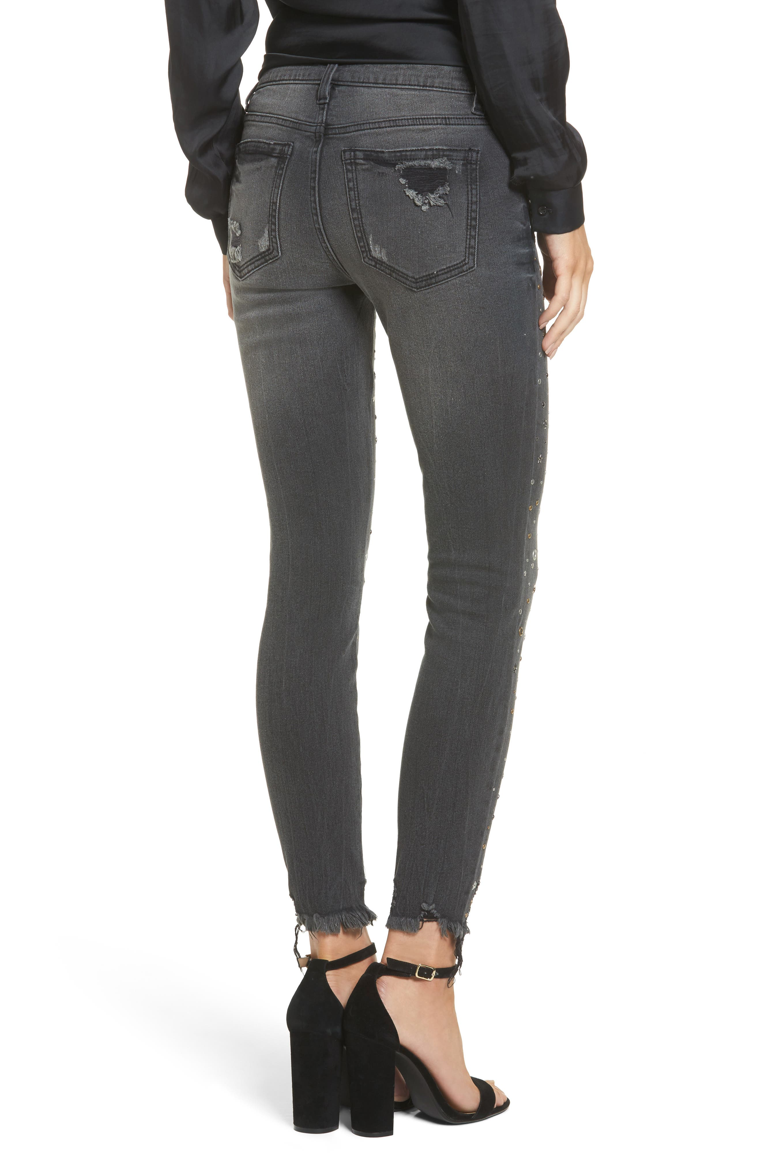 Rock Star Studded Skinny Jeans,                             Alternate thumbnail 2, color,                             Charcoal