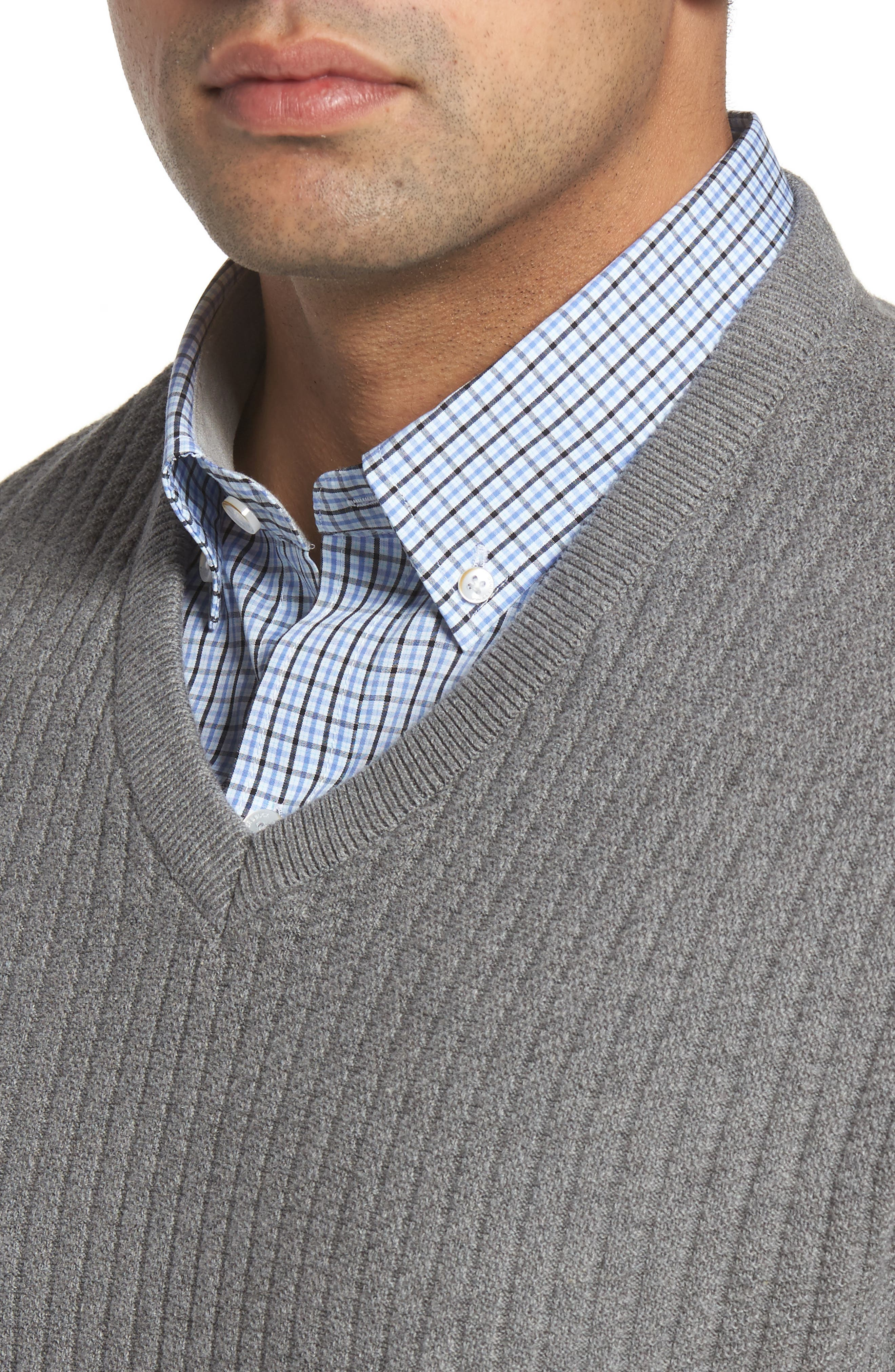 Bryant Rib-Knit V-Neck Sweater,                             Alternate thumbnail 4, color,                             Mid Grey Heather