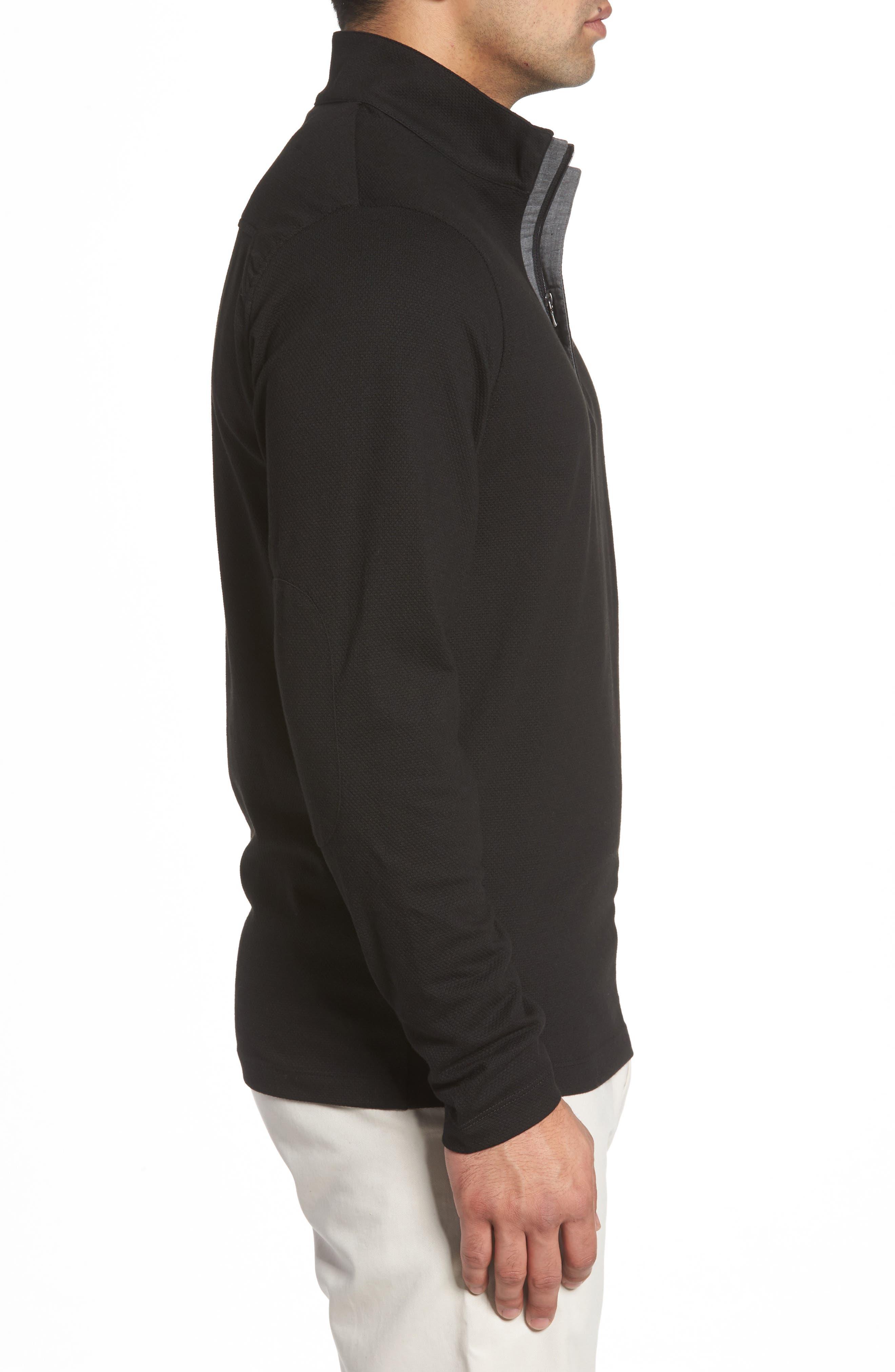 Hewitt Quarter-Zip Waffle Knit Pullover,                             Alternate thumbnail 3, color,                             Black
