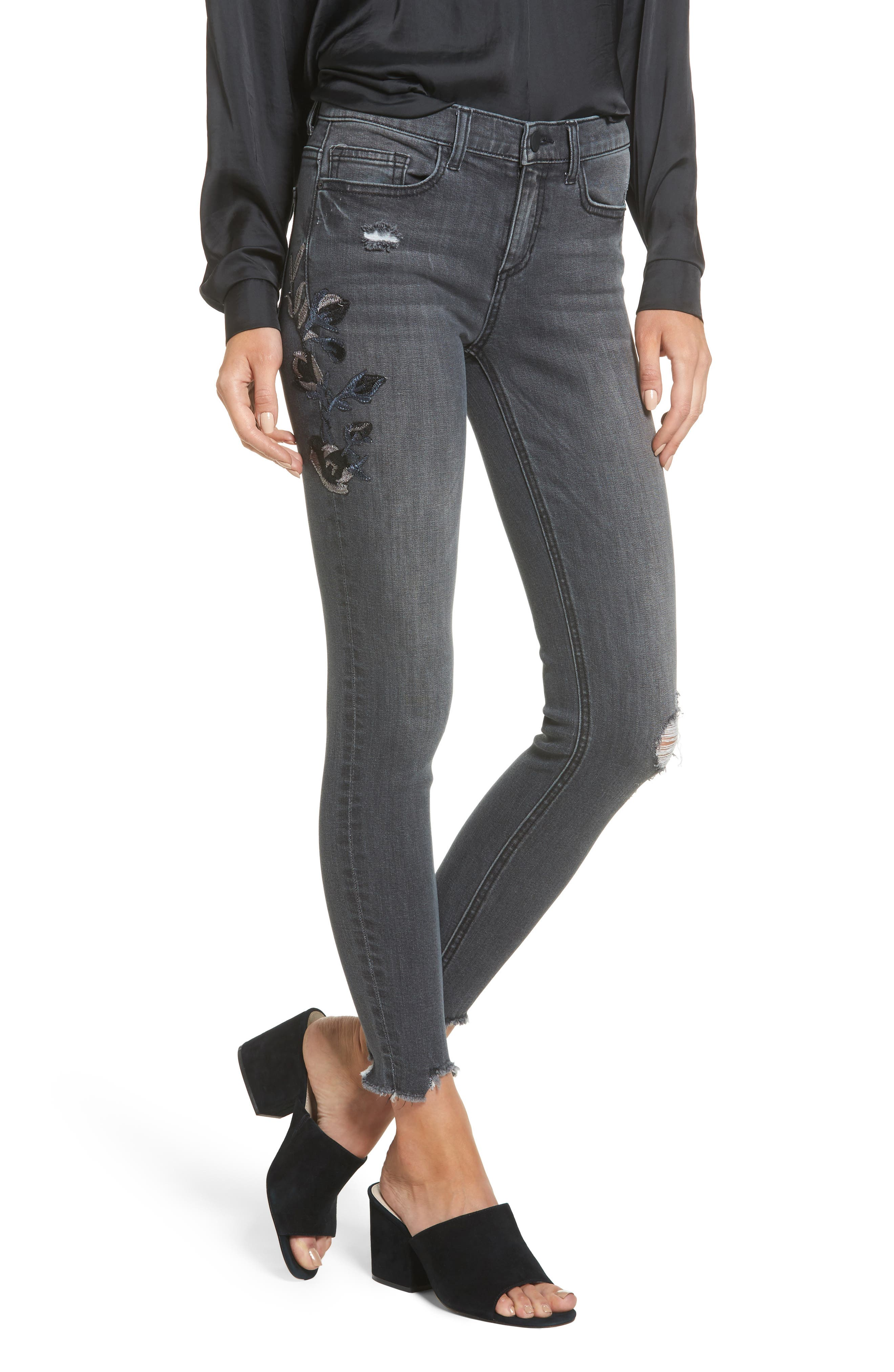 Embroidered Skinny Jeans,                         Main,                         color, Grey