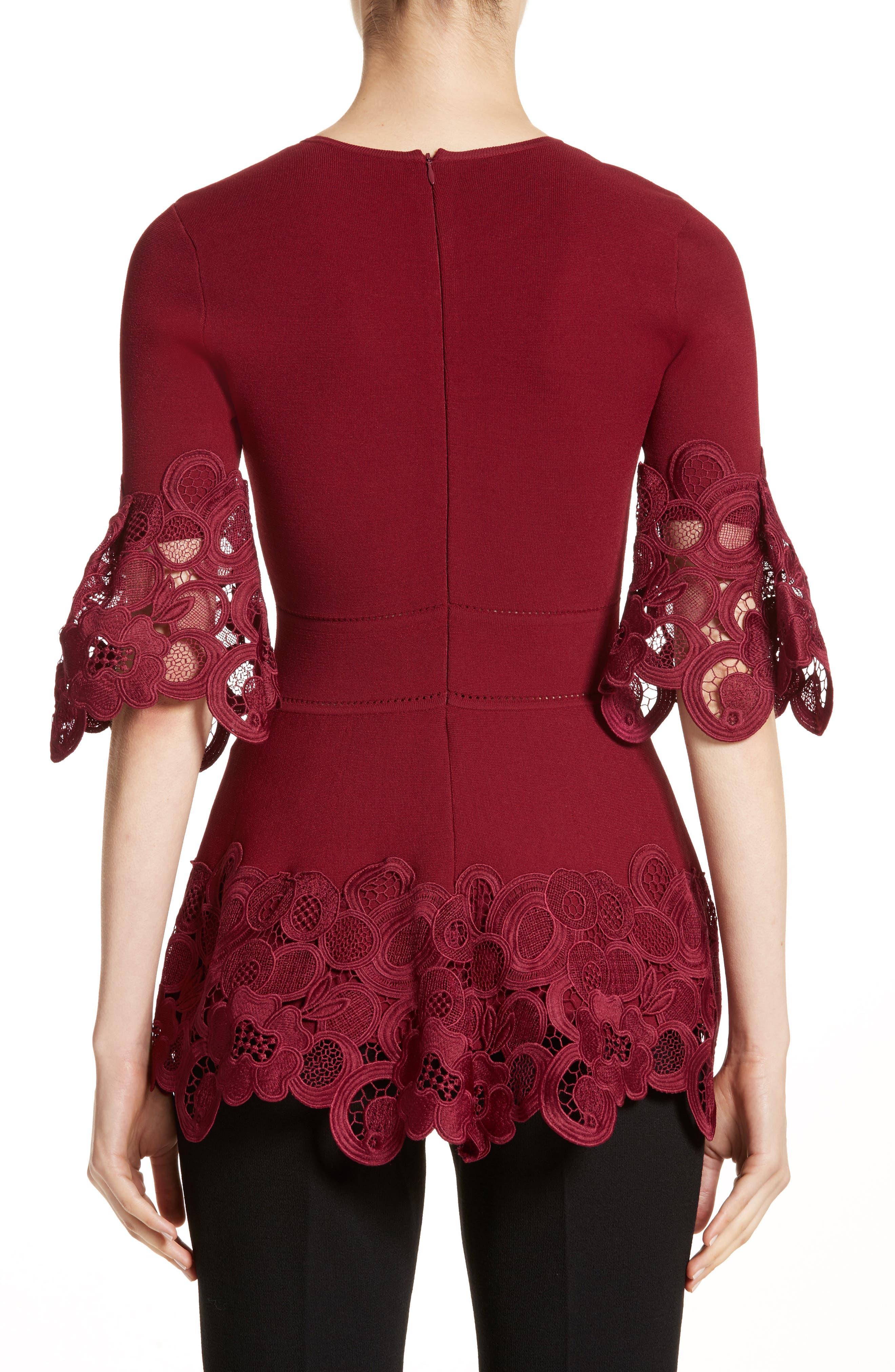 Lace Hem Knit Top,                             Alternate thumbnail 2, color,                             Mulberry