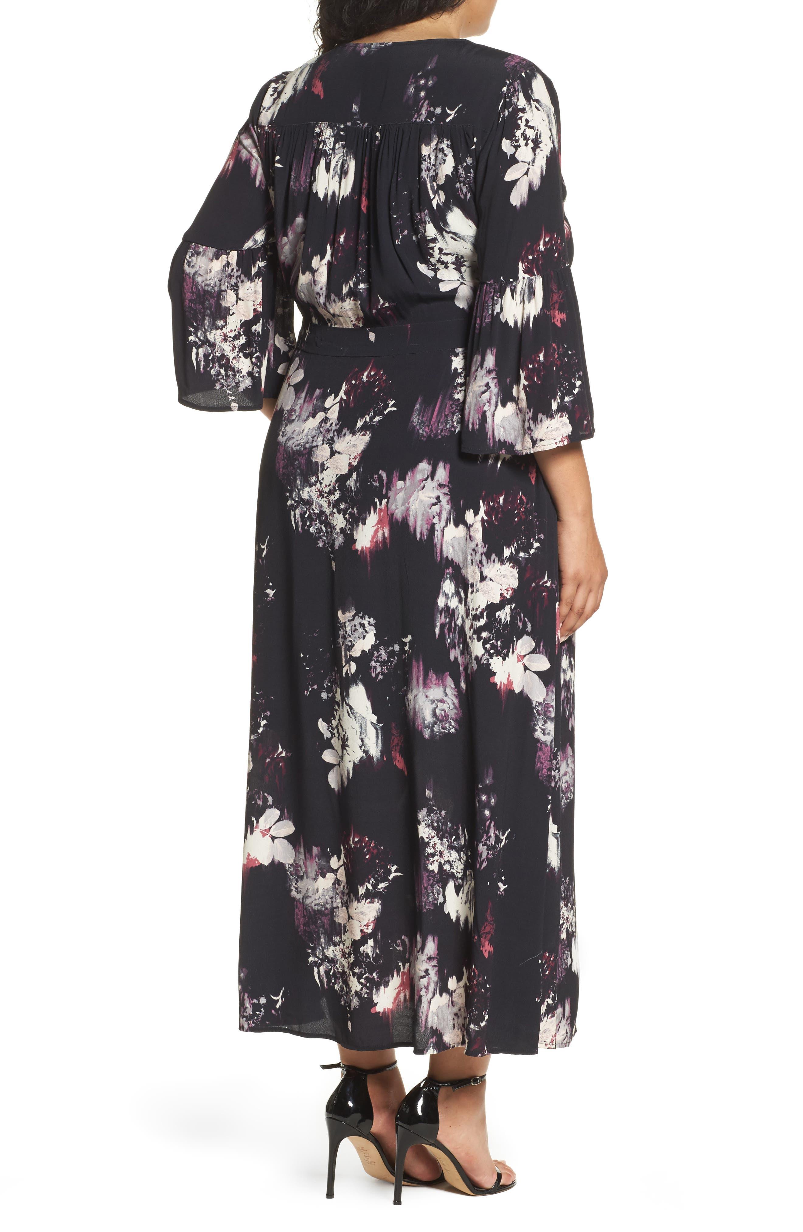 Alternate Image 3  - Sejour Bell Sleeve A-Line Maxi Dress (Plus Size)