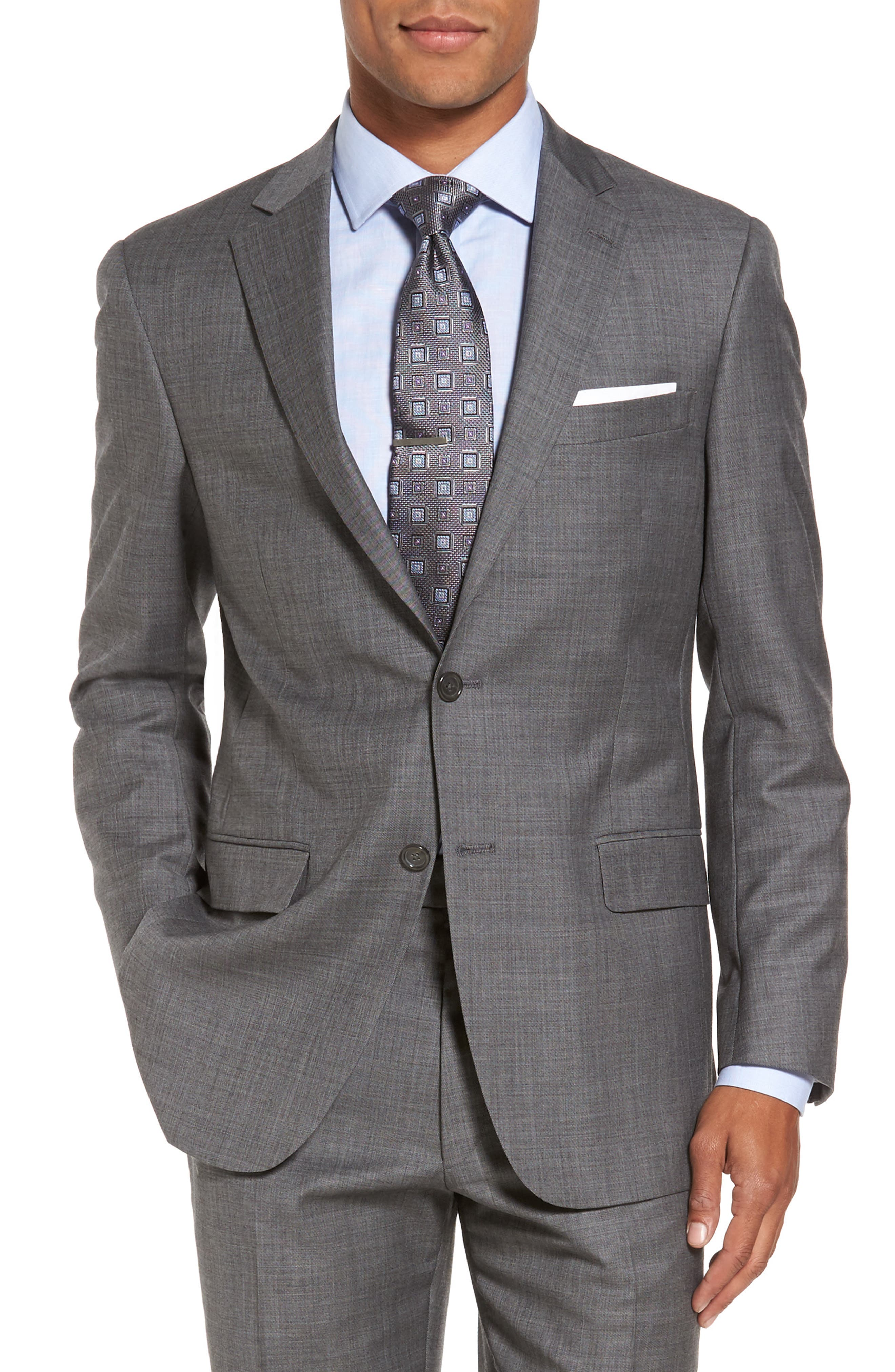 Classic Fit Solid Wool Suit,                             Alternate thumbnail 5, color,                             Med Grey