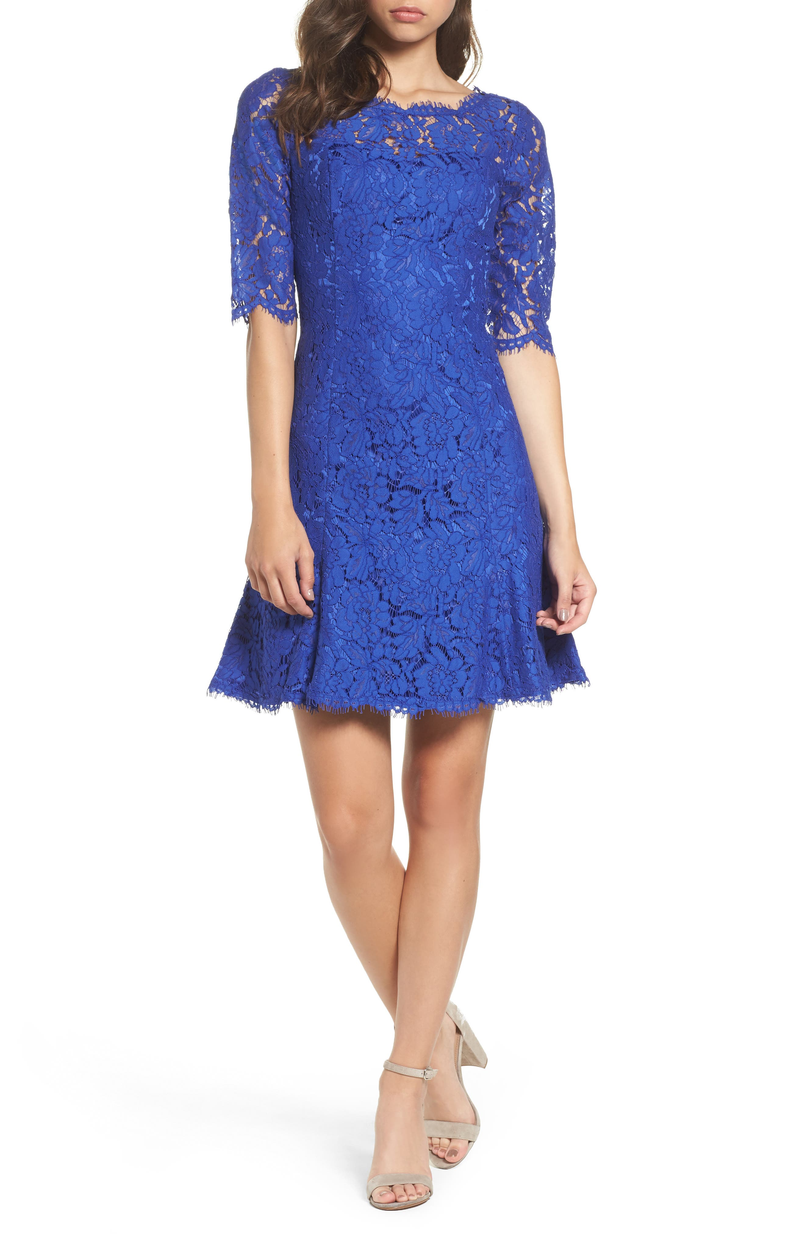 Lace Fit & Flare Dress,                             Main thumbnail 1, color,                             Electric Blue