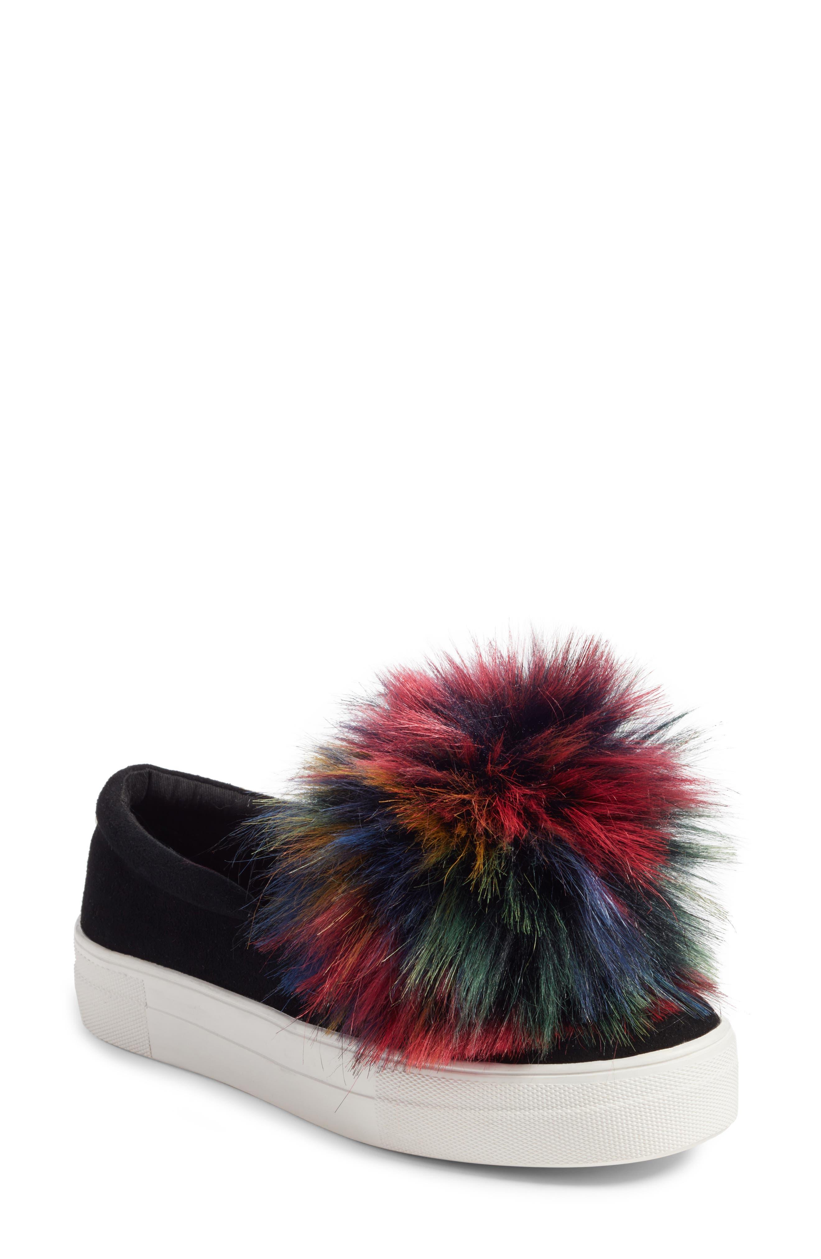 Great Faux Fur Pom Platform Sneaker,                         Main,                         color, Black Multi