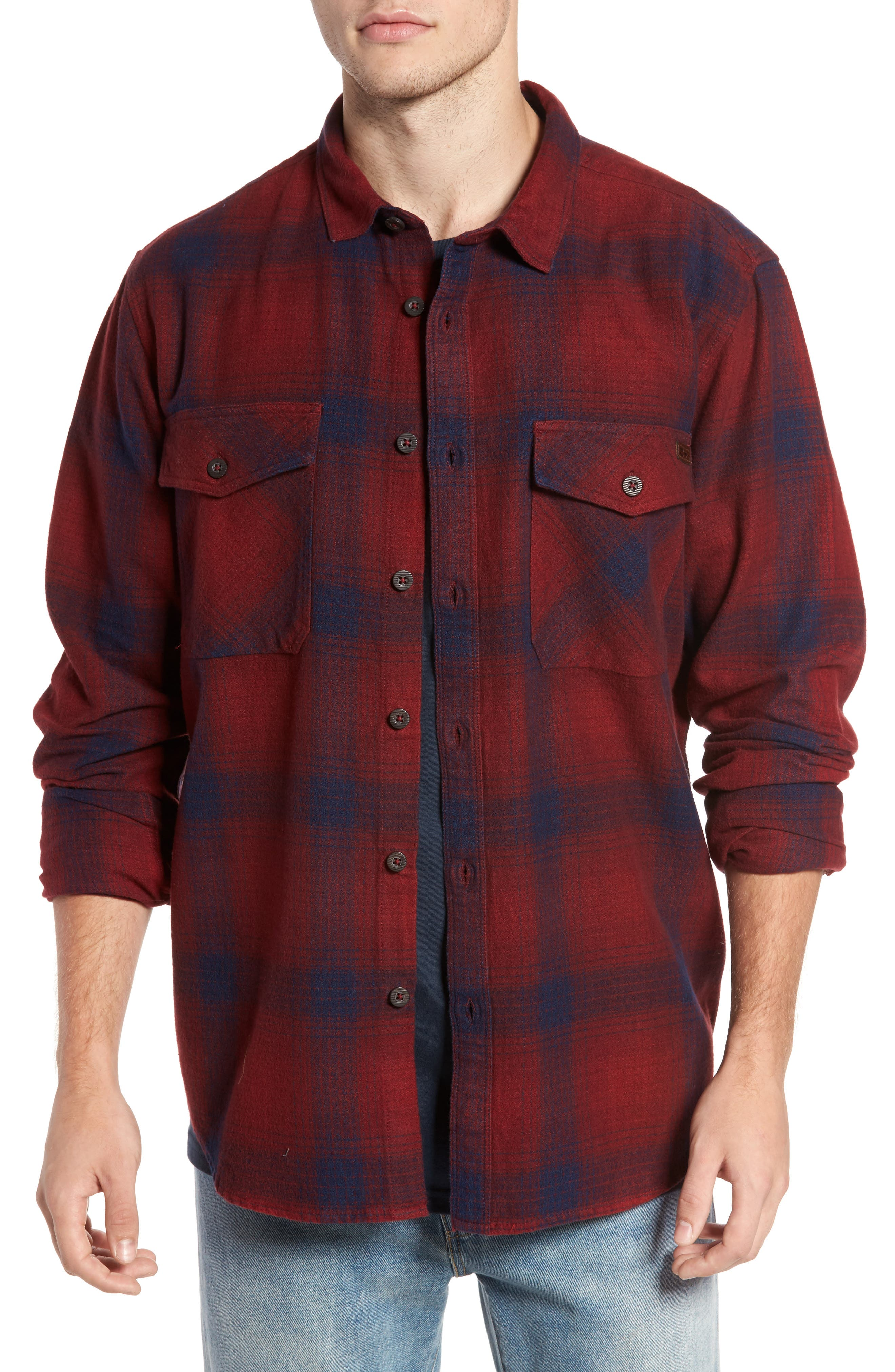 Ventura Flannel Shirt,                         Main,                         color, Red