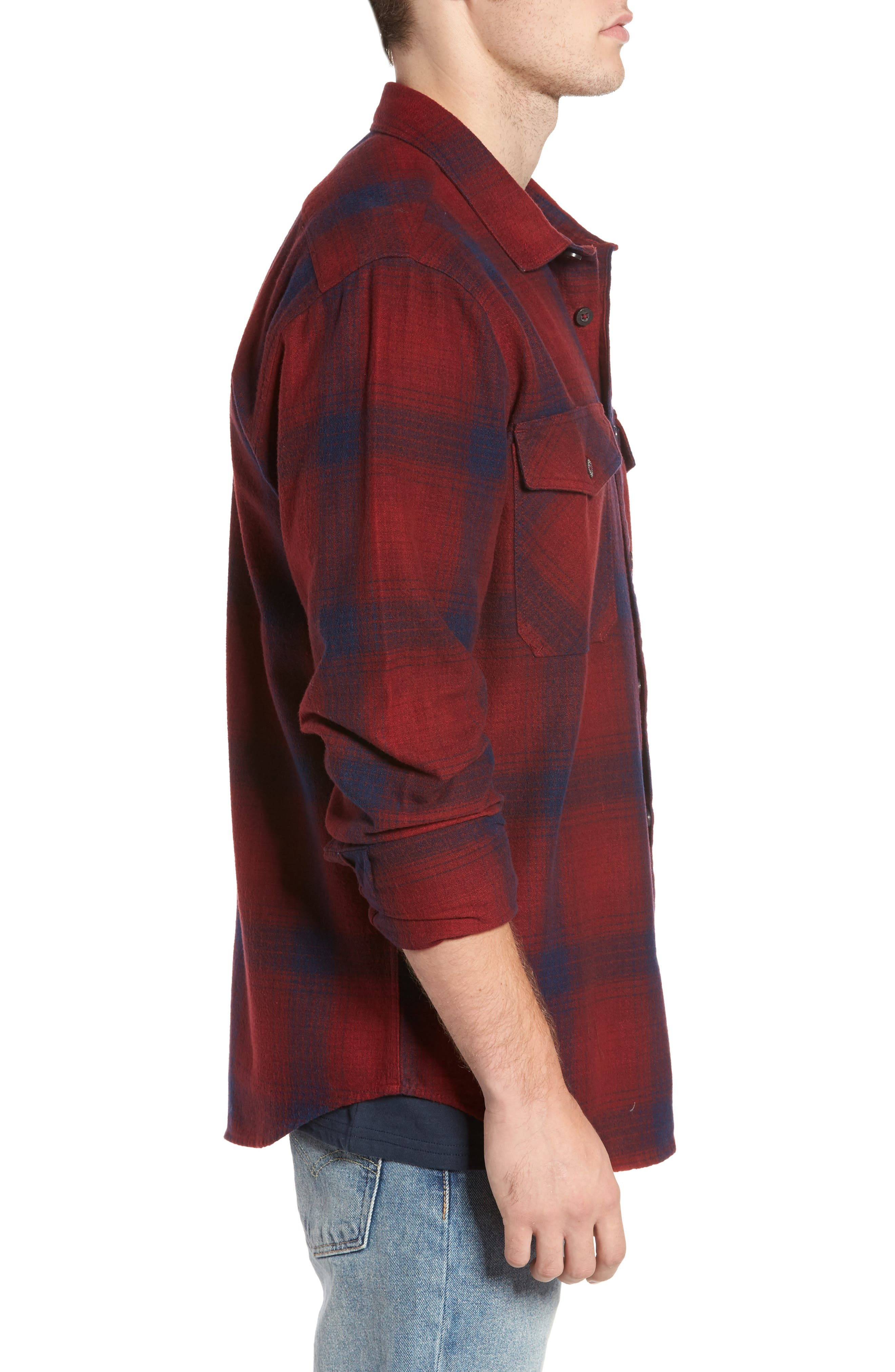 Ventura Flannel Shirt,                             Alternate thumbnail 3, color,                             Red