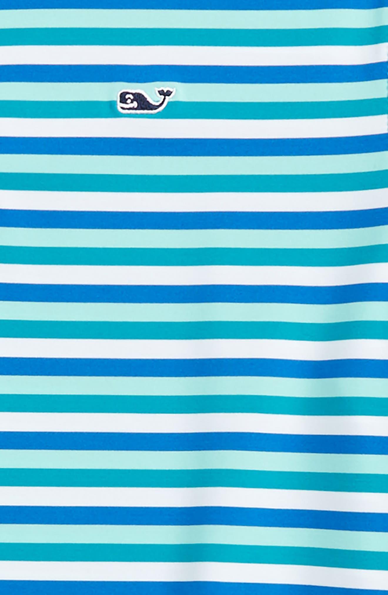 Feeder Stripe Performance Polo,                             Alternate thumbnail 2, color,                             Turquois Sea
