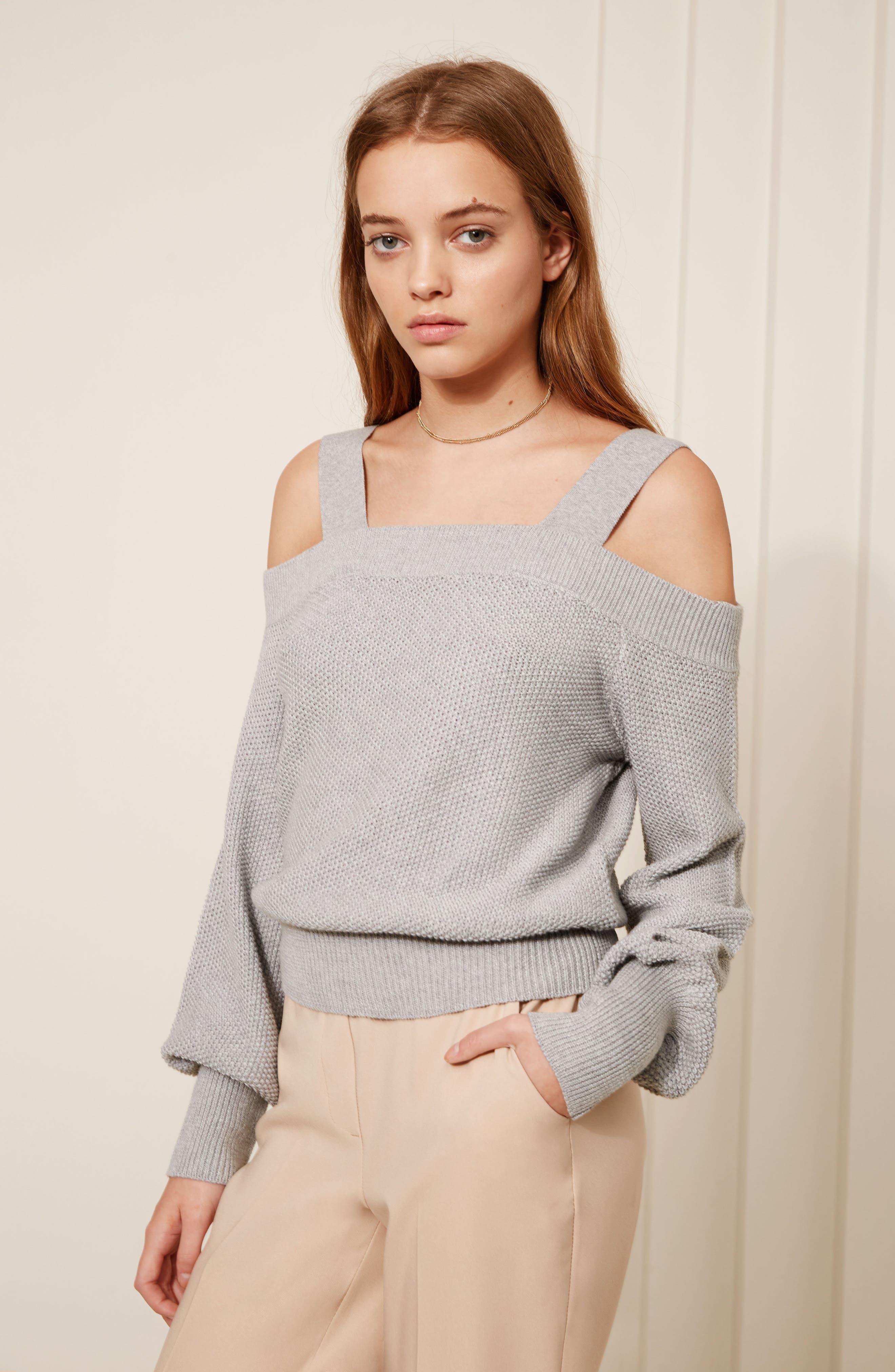 Lexi Cold Shoulder Sweater,                             Alternate thumbnail 2, color,                             Grey Marle