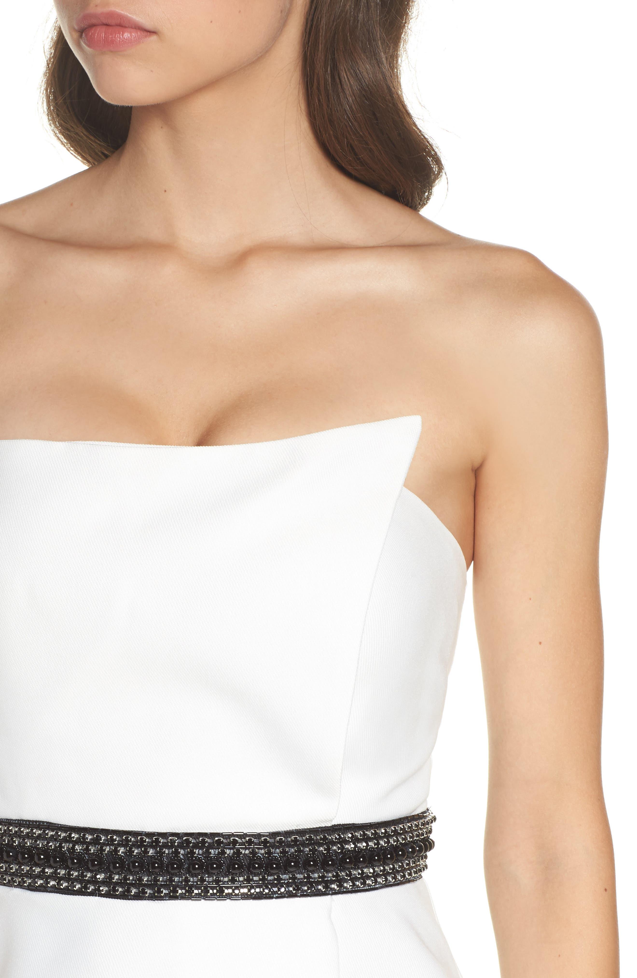 Color Block Strapless Mermaid Gown,                             Alternate thumbnail 4, color,                             Black/ White
