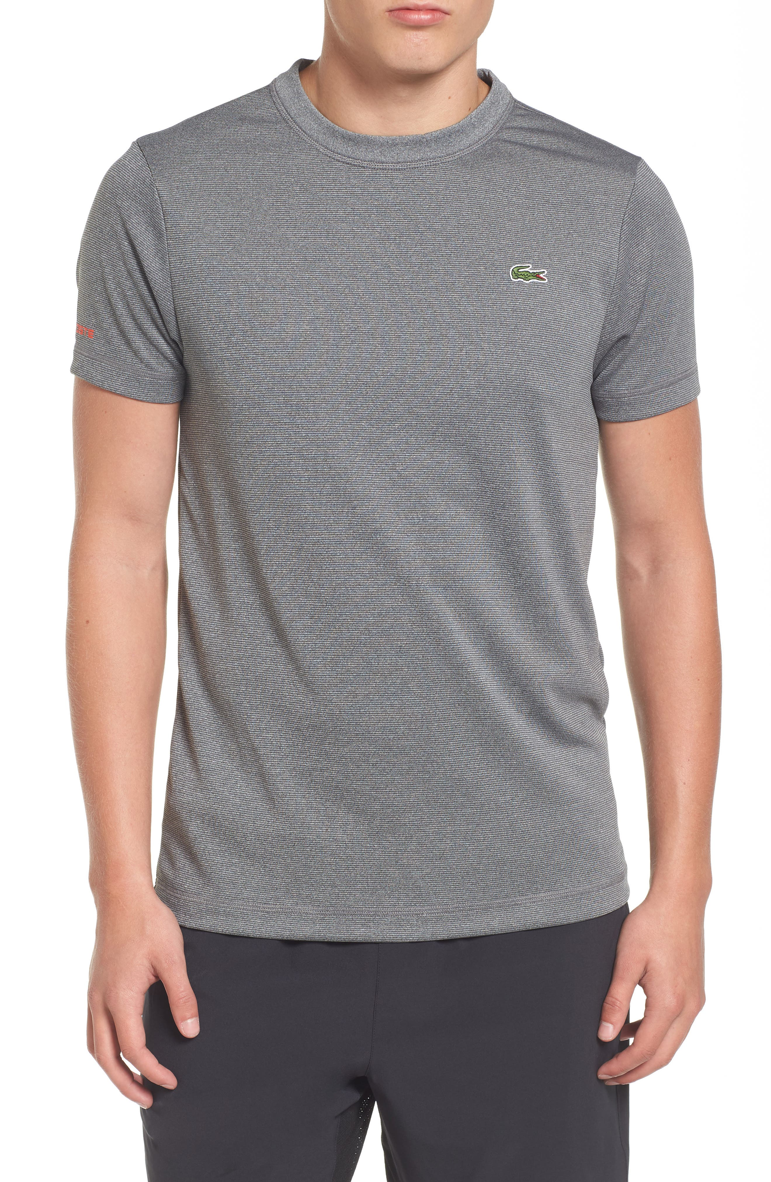 Lacoste Pinstripe Grommet T-Shirt