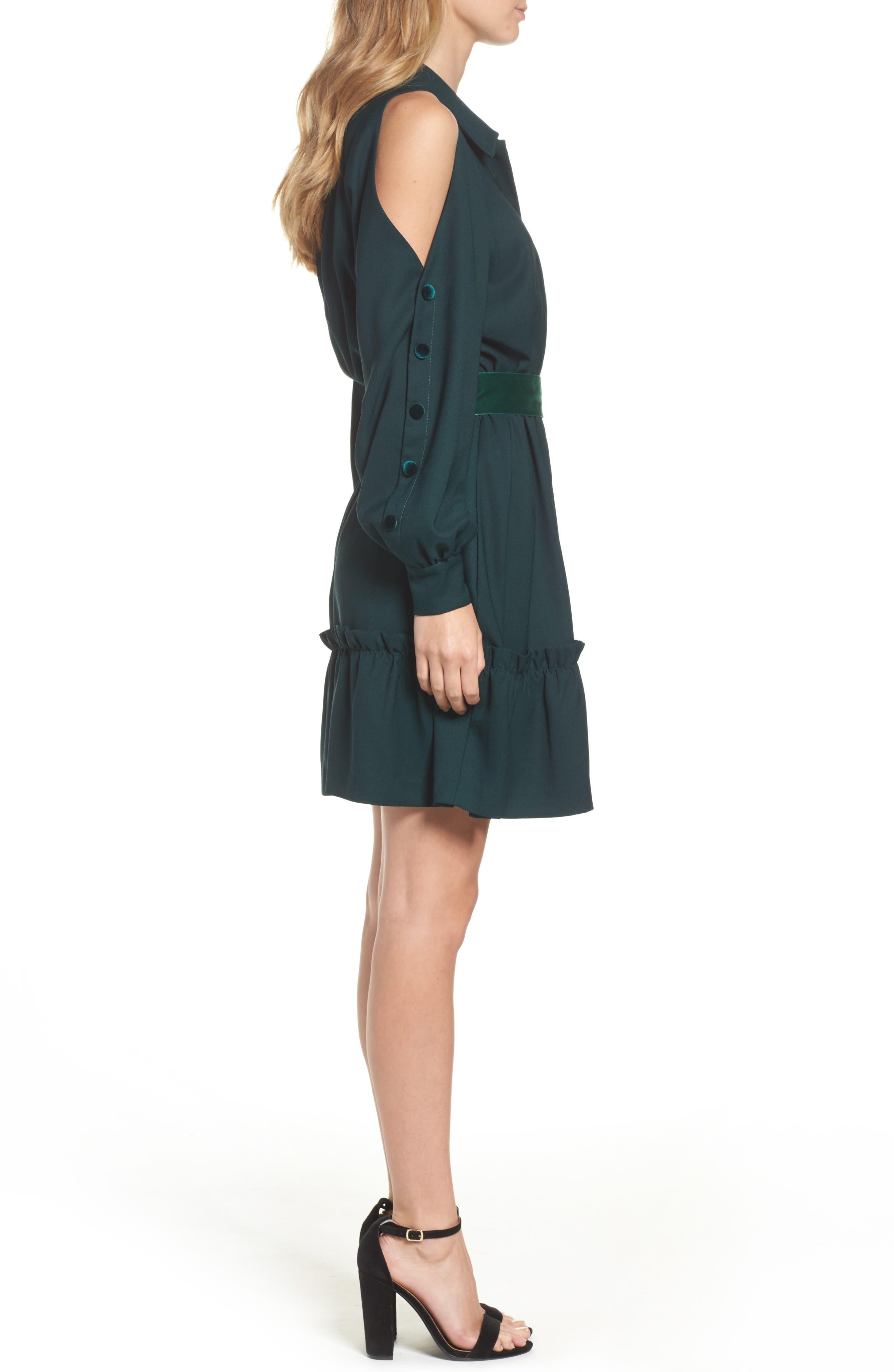Alternate Image 4  - Eliza J Cold Shoulder Shirtdress (Regular & Petite)