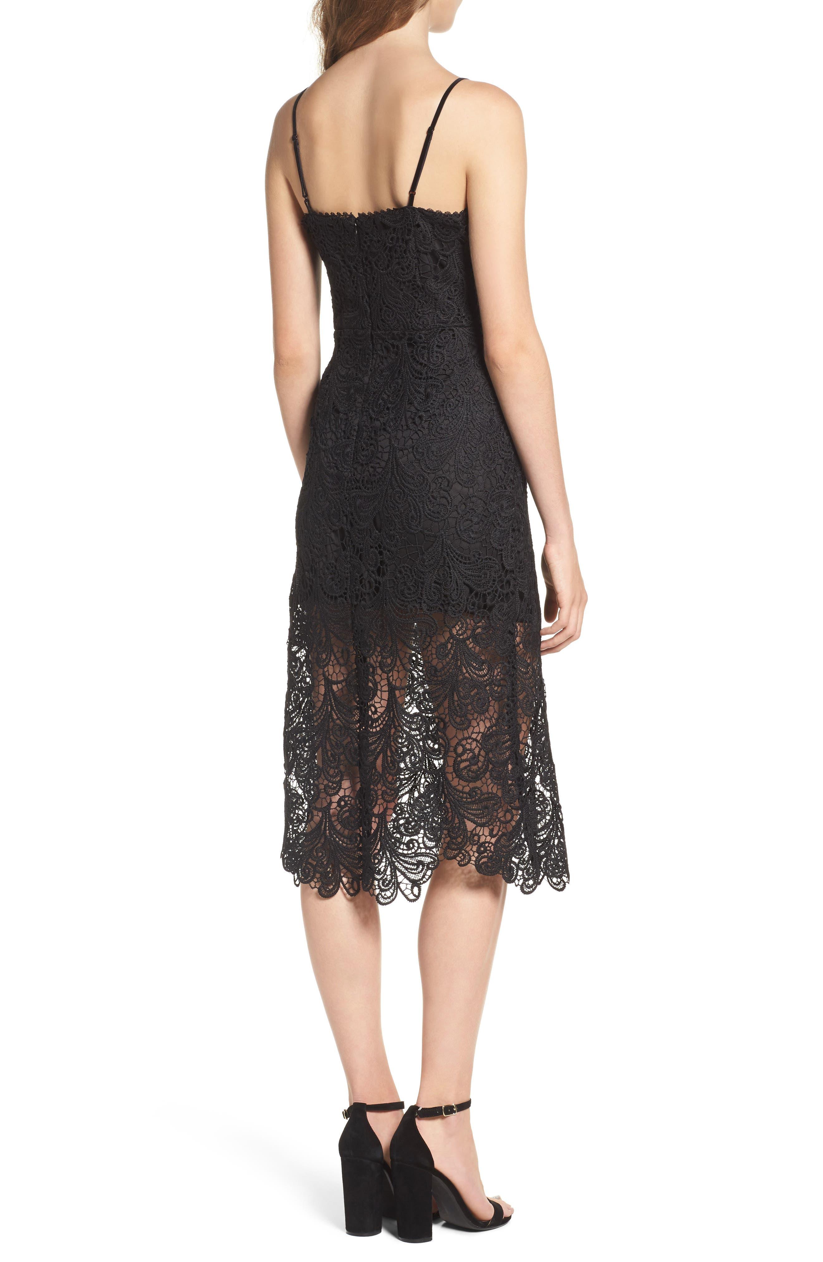 Lace Midi Dress,                             Alternate thumbnail 2, color,                             Black