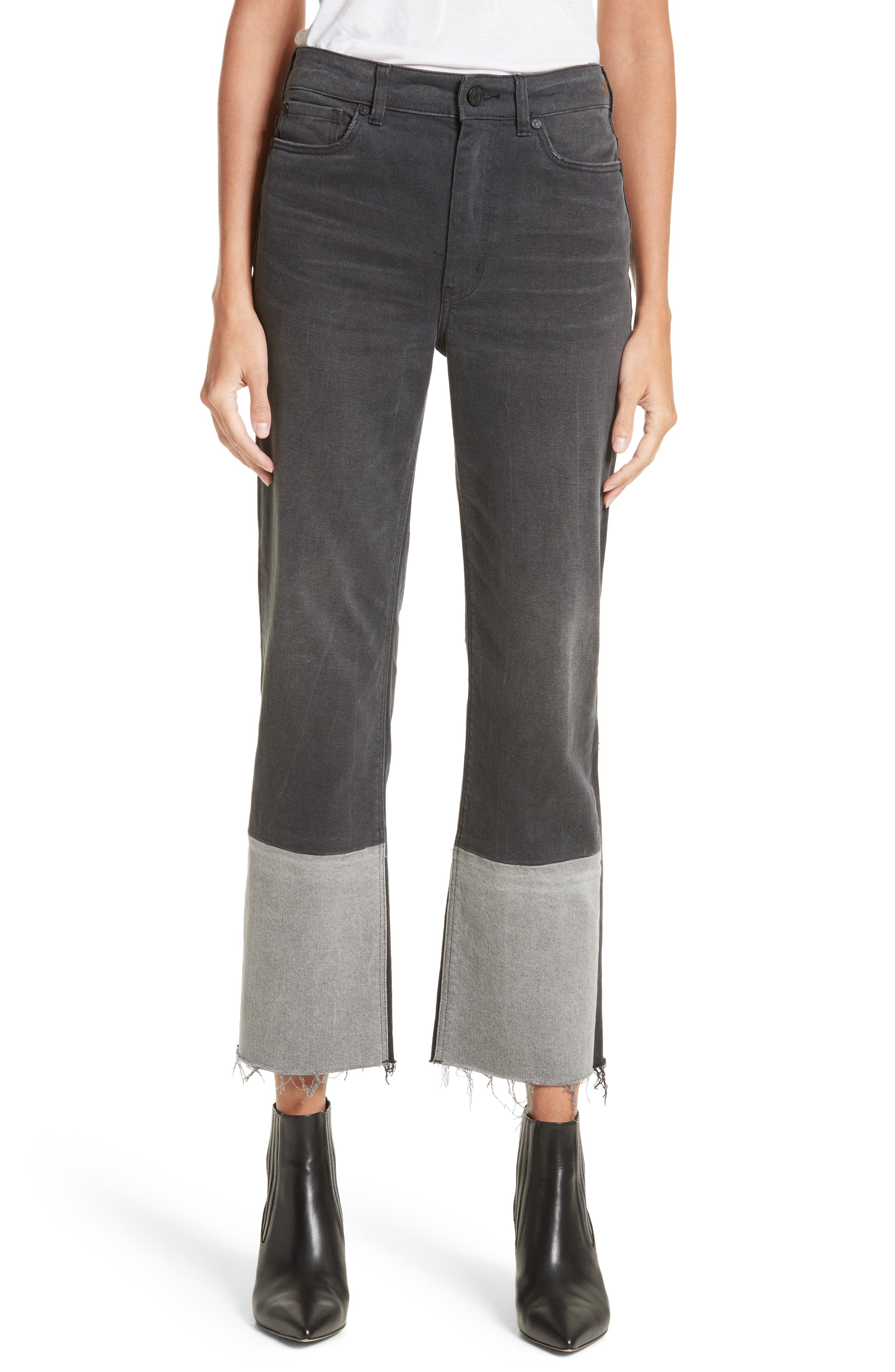 Patch Jeans,                         Main,                         color, Grey Combo