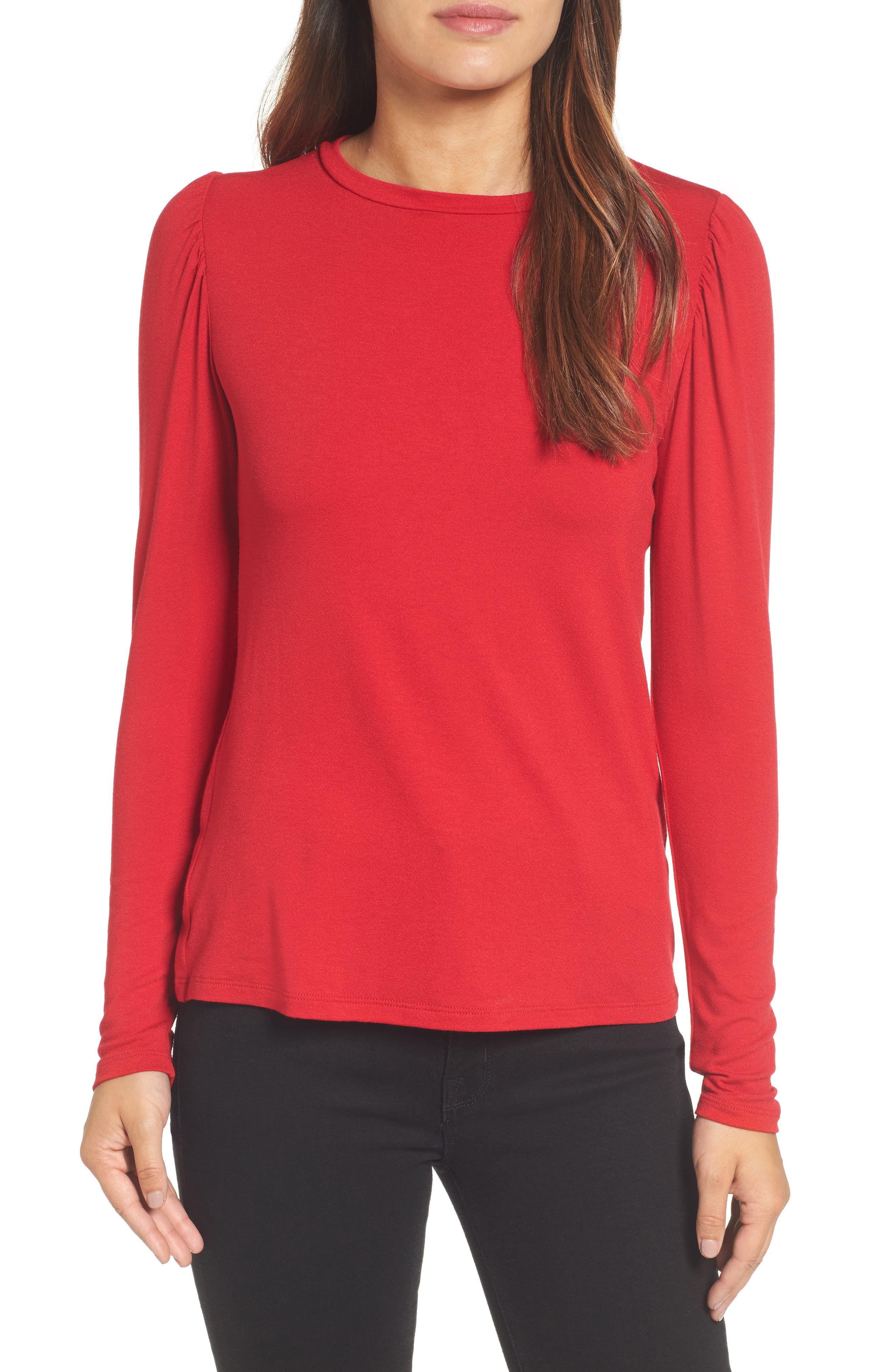 Bishop Knit Top,                         Main,                         color, Red Chili