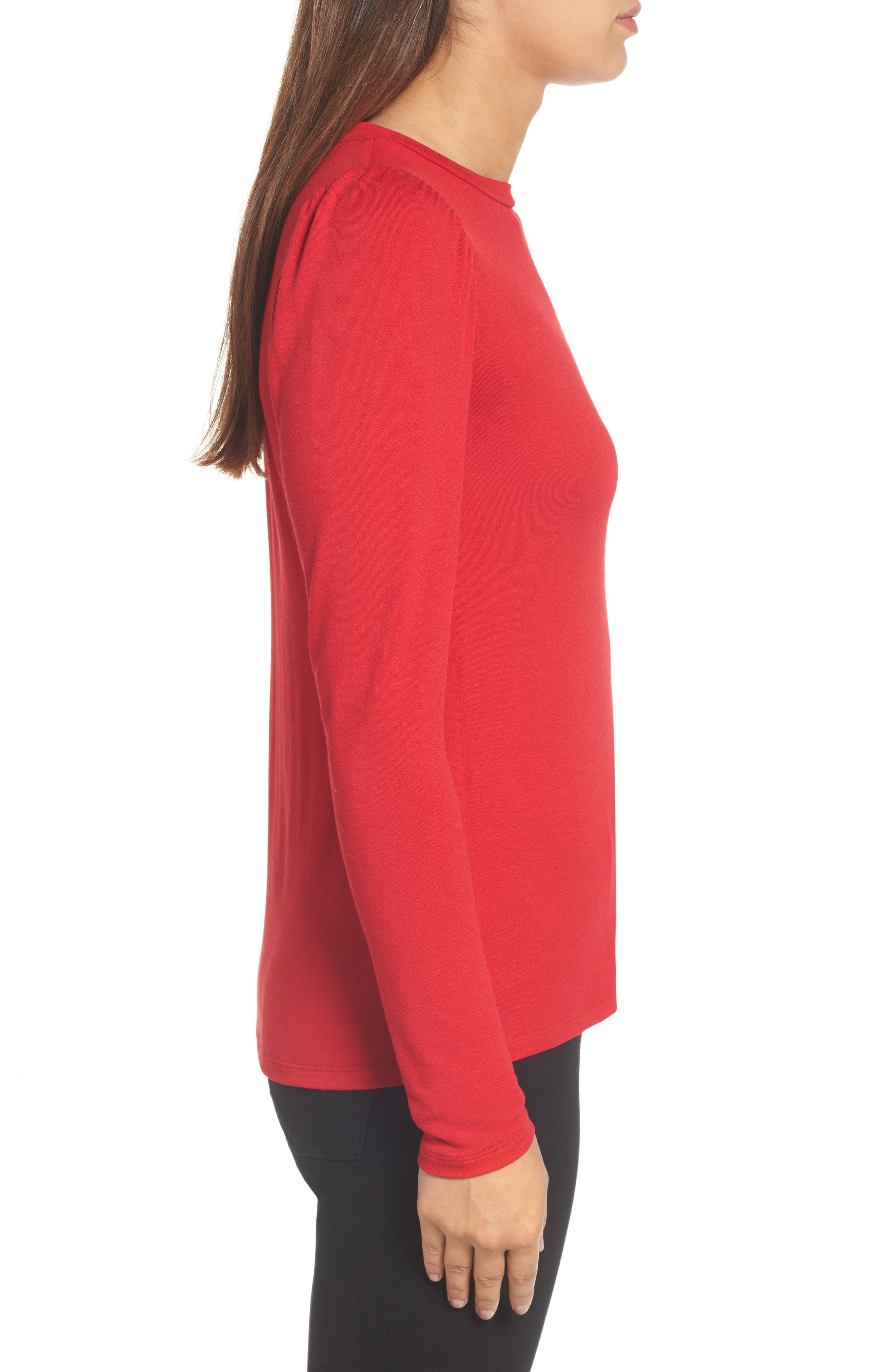 Bishop Knit Top,                             Alternate thumbnail 3, color,                             Red Chili