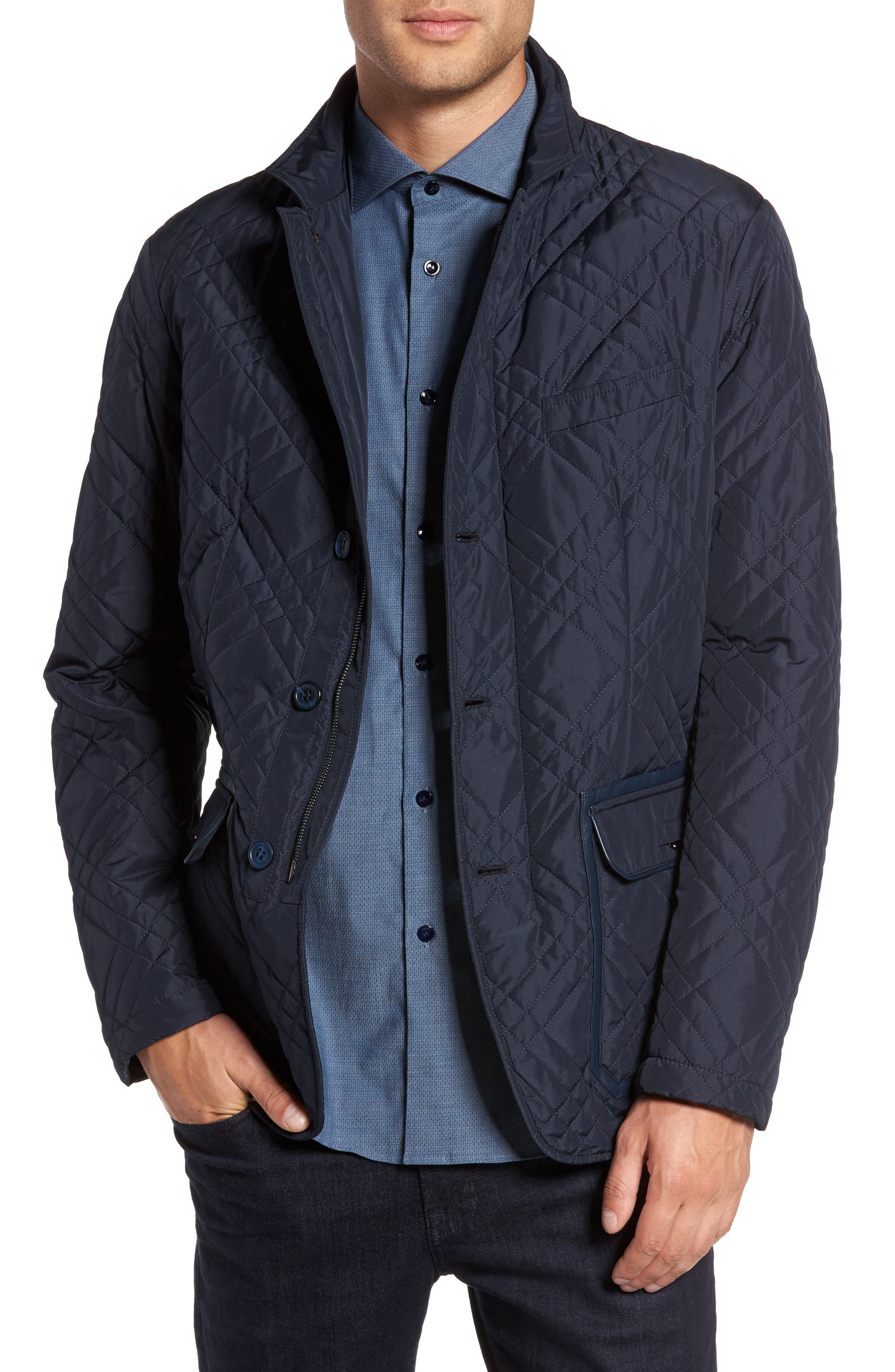 Quilted Field Jacket,                         Main,                         color, Blue Navy