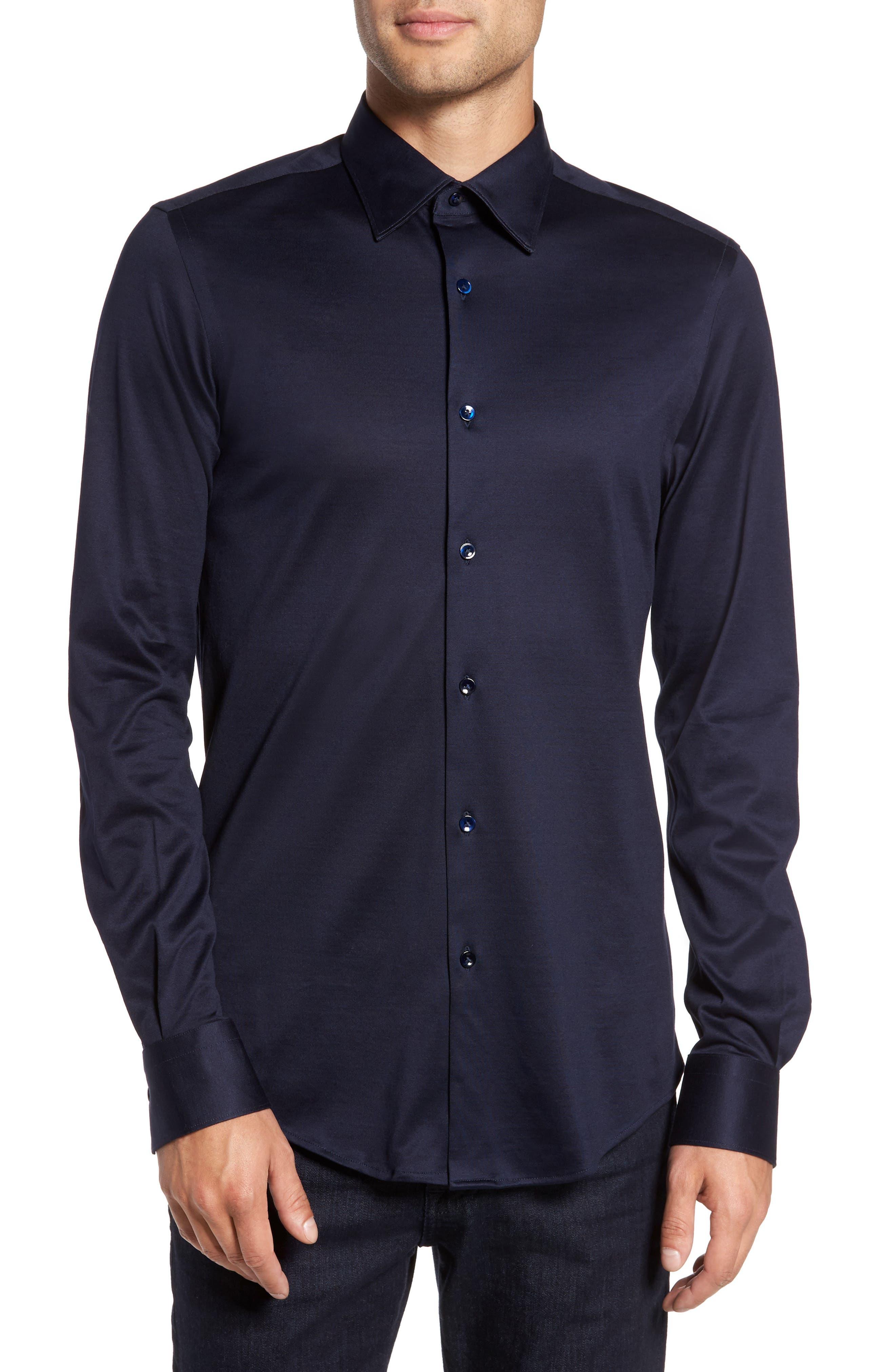 Jersey Sport Shirt,                         Main,                         color, Blue Navy