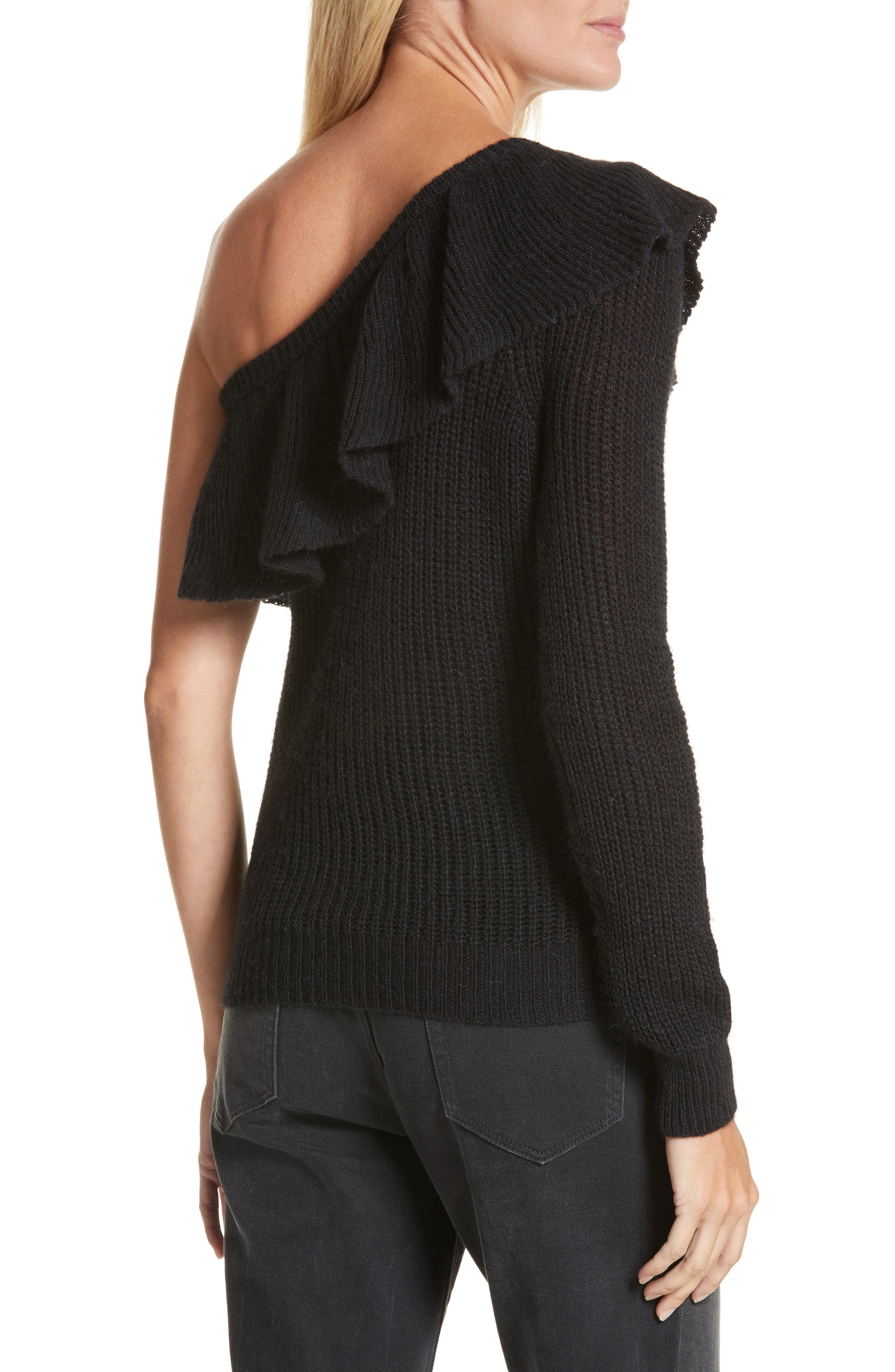 One-Shoulder Ruffle Sweater,                             Alternate thumbnail 2, color,                             Black