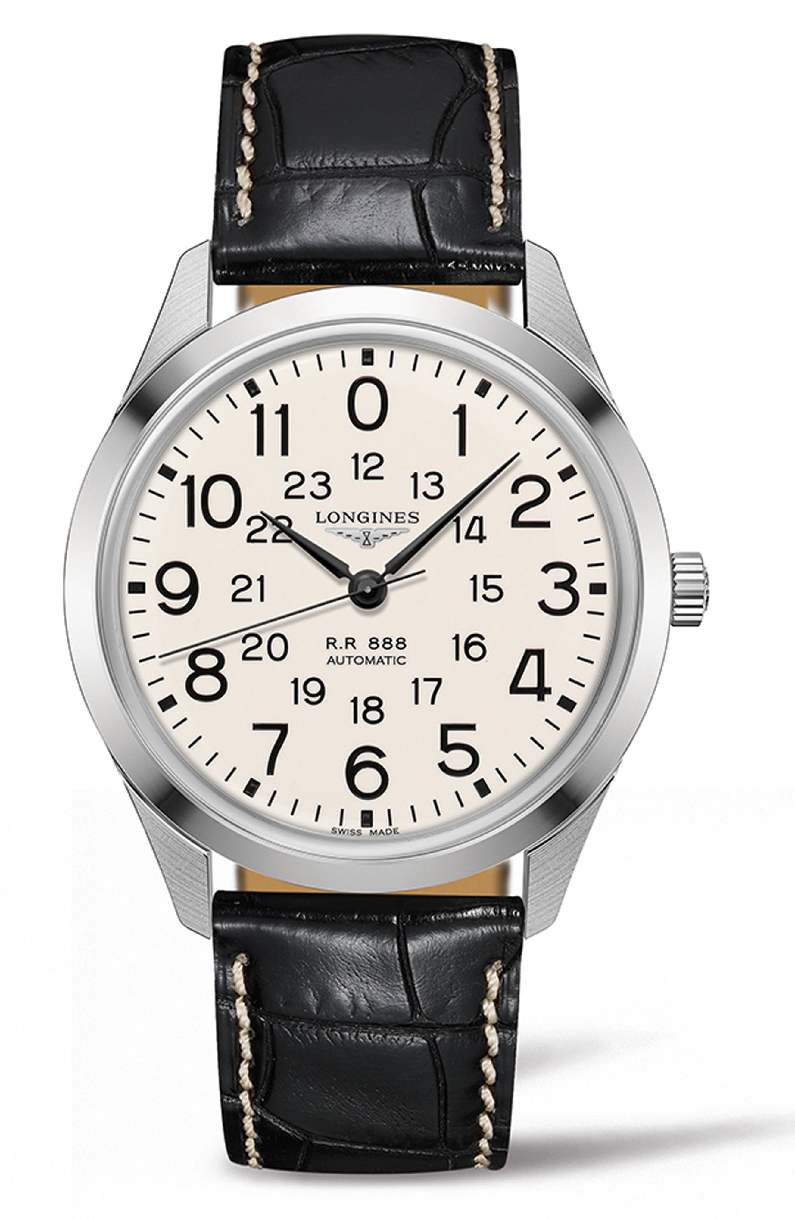 Longines RailRoad Automatic Leather Strap Watch, 40mm