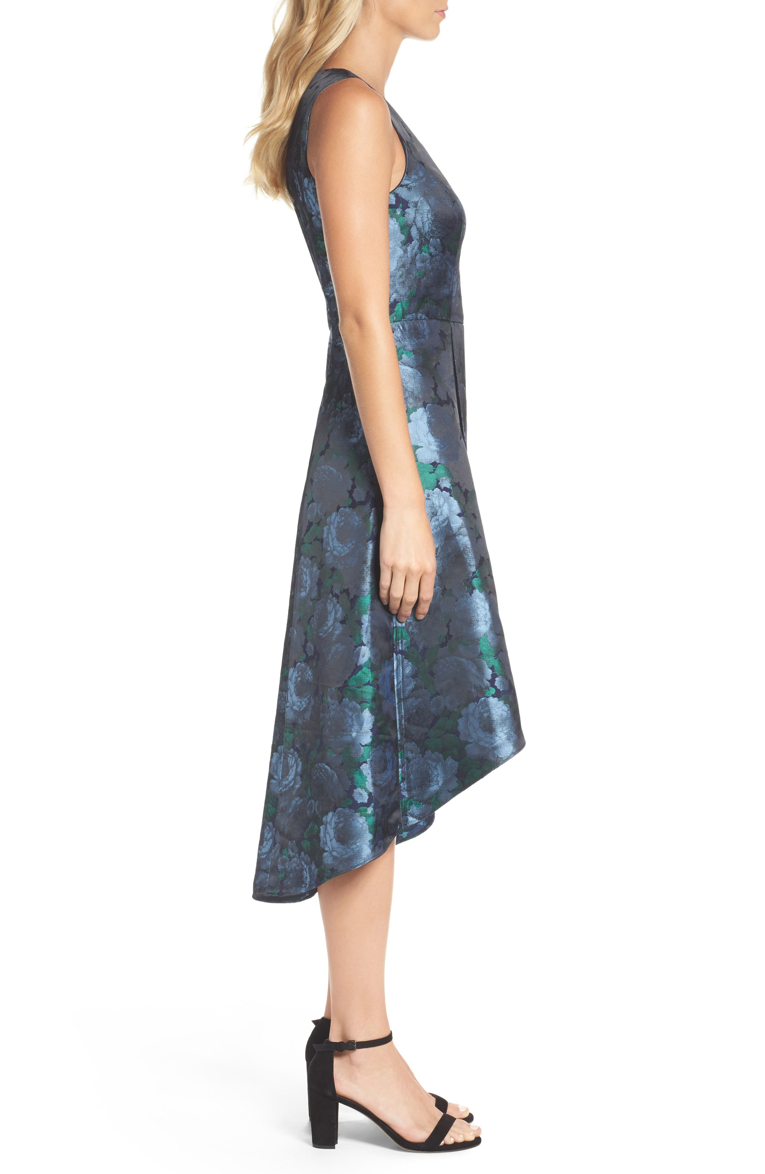 Brocade High/Low Dress,                             Alternate thumbnail 3, color,                             Blue/ Navy