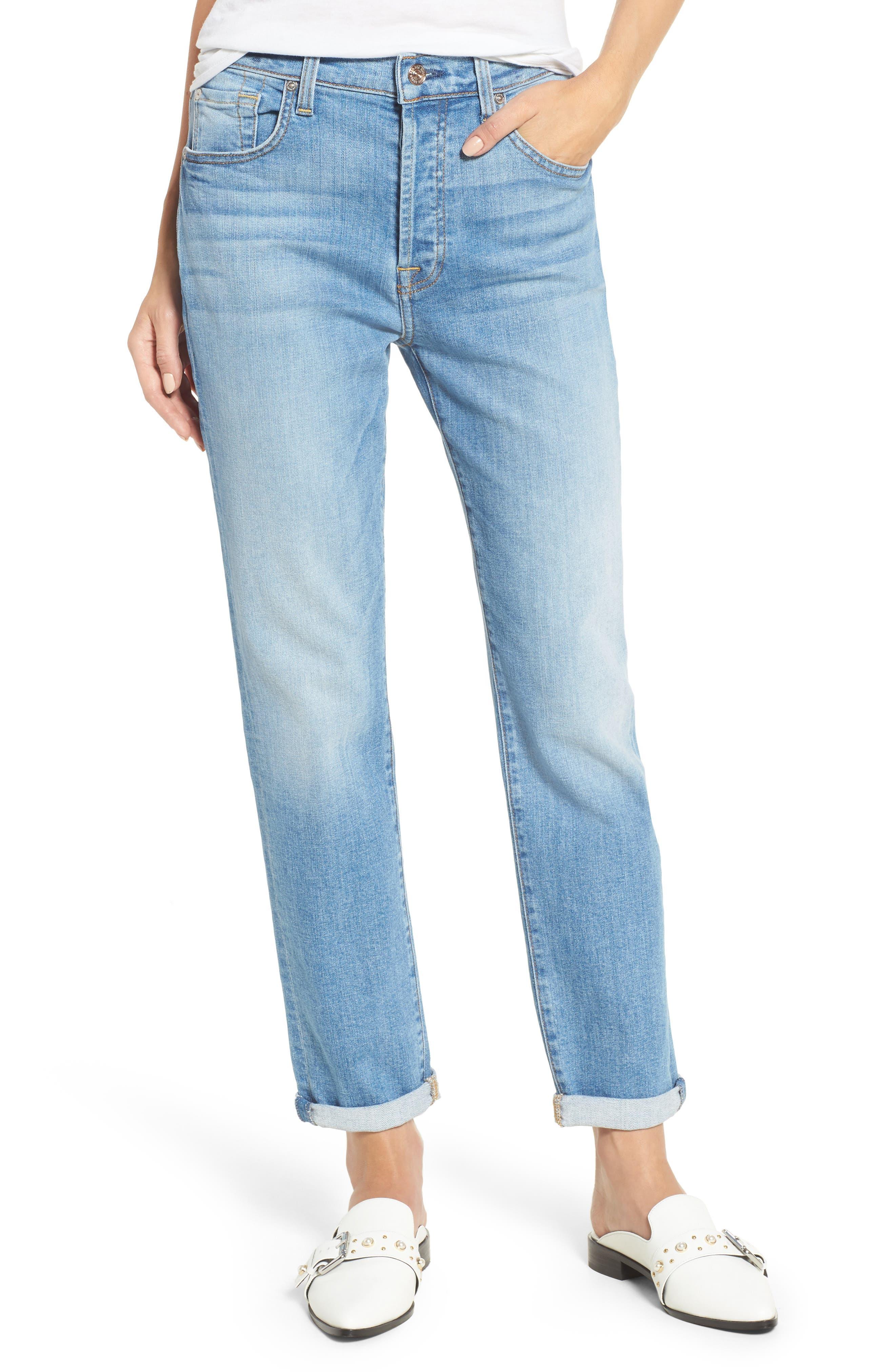 Main Image - 7 For All Mankind® Josefina High Waist Crop Boyfriend Jeans (East Village)