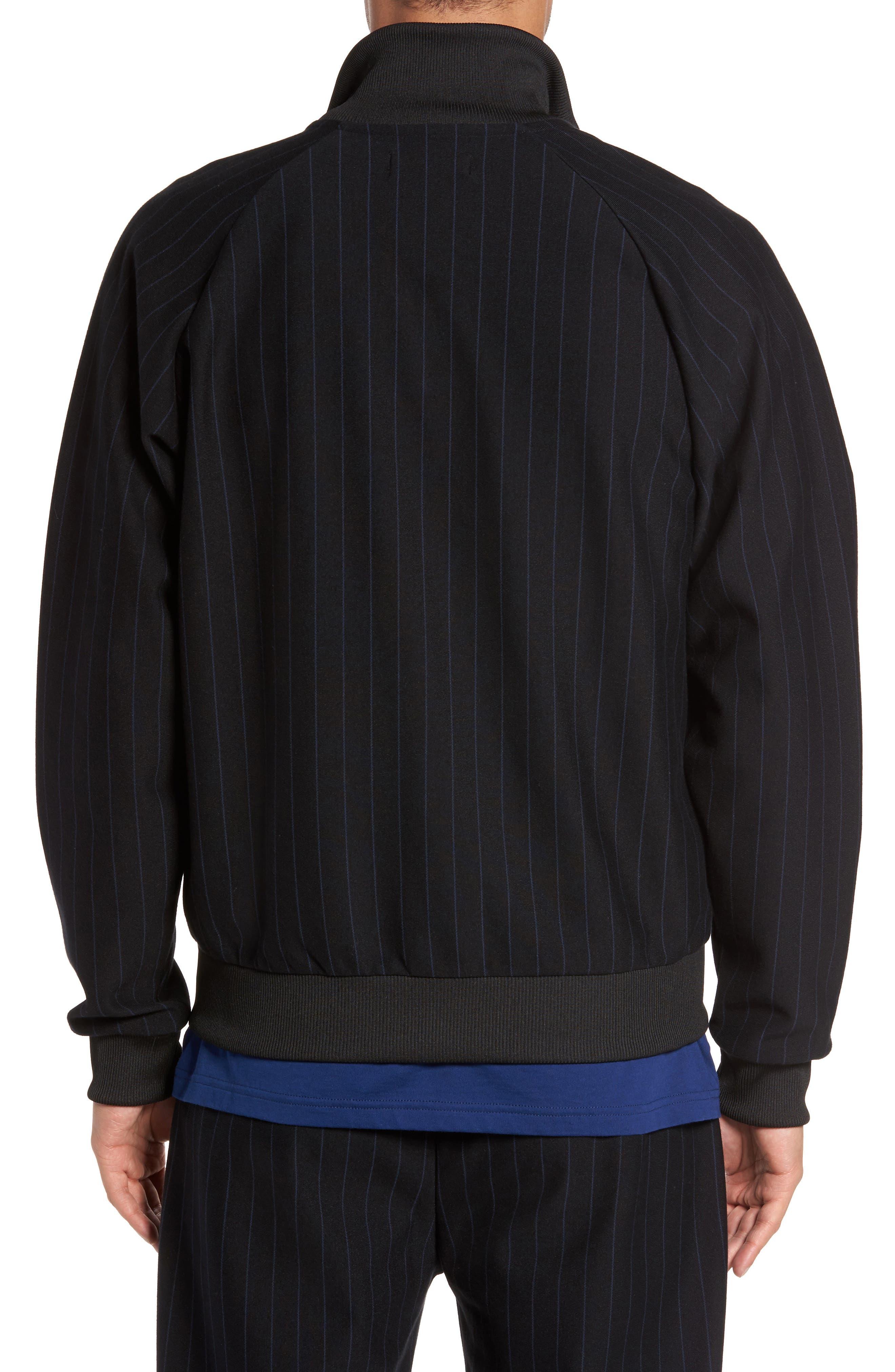Pinstripe Track Jacket,                             Alternate thumbnail 2, color,                             Black