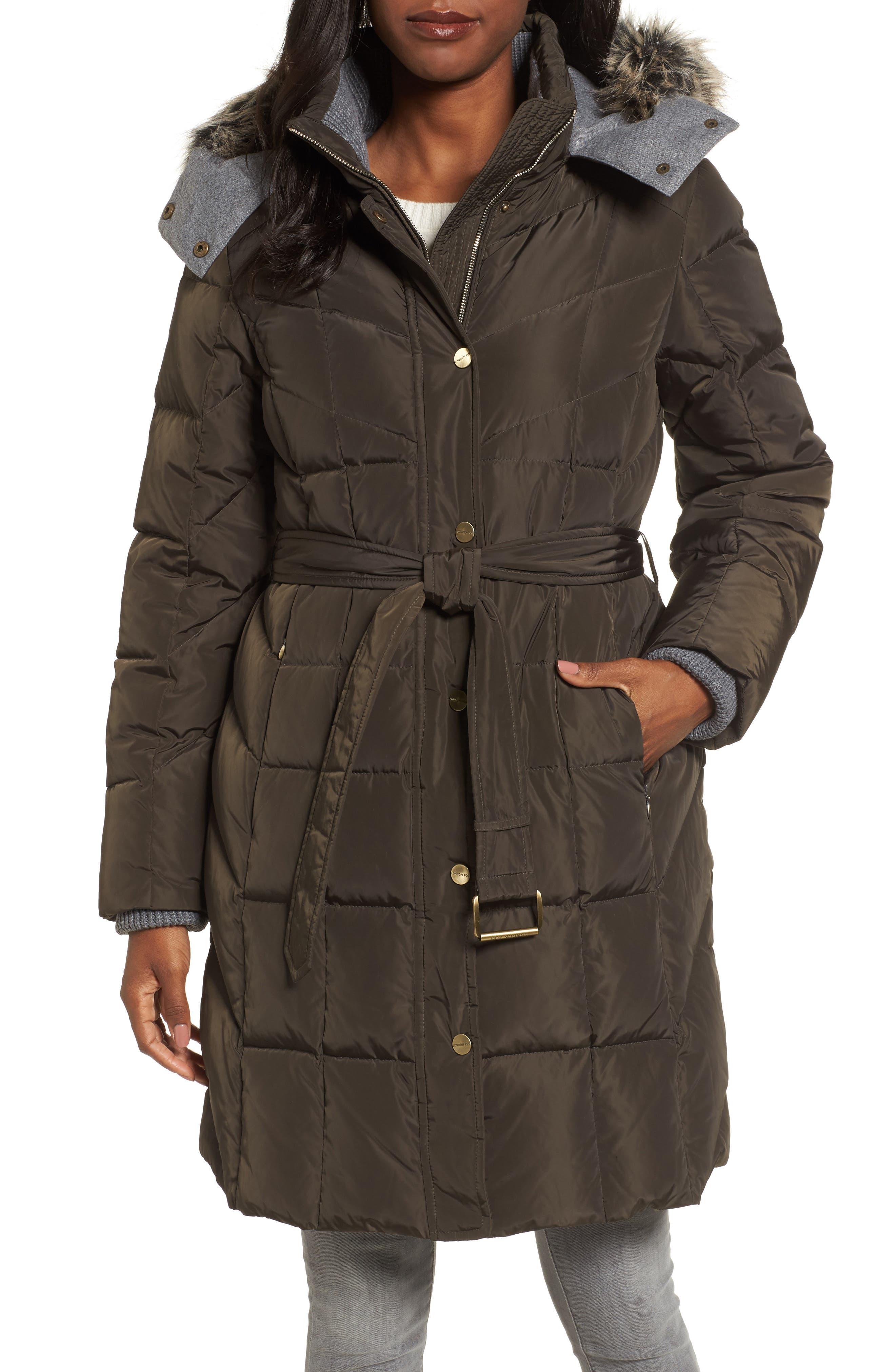 Down Coat with Faux Fur Trim,                         Main,                         color, Kale