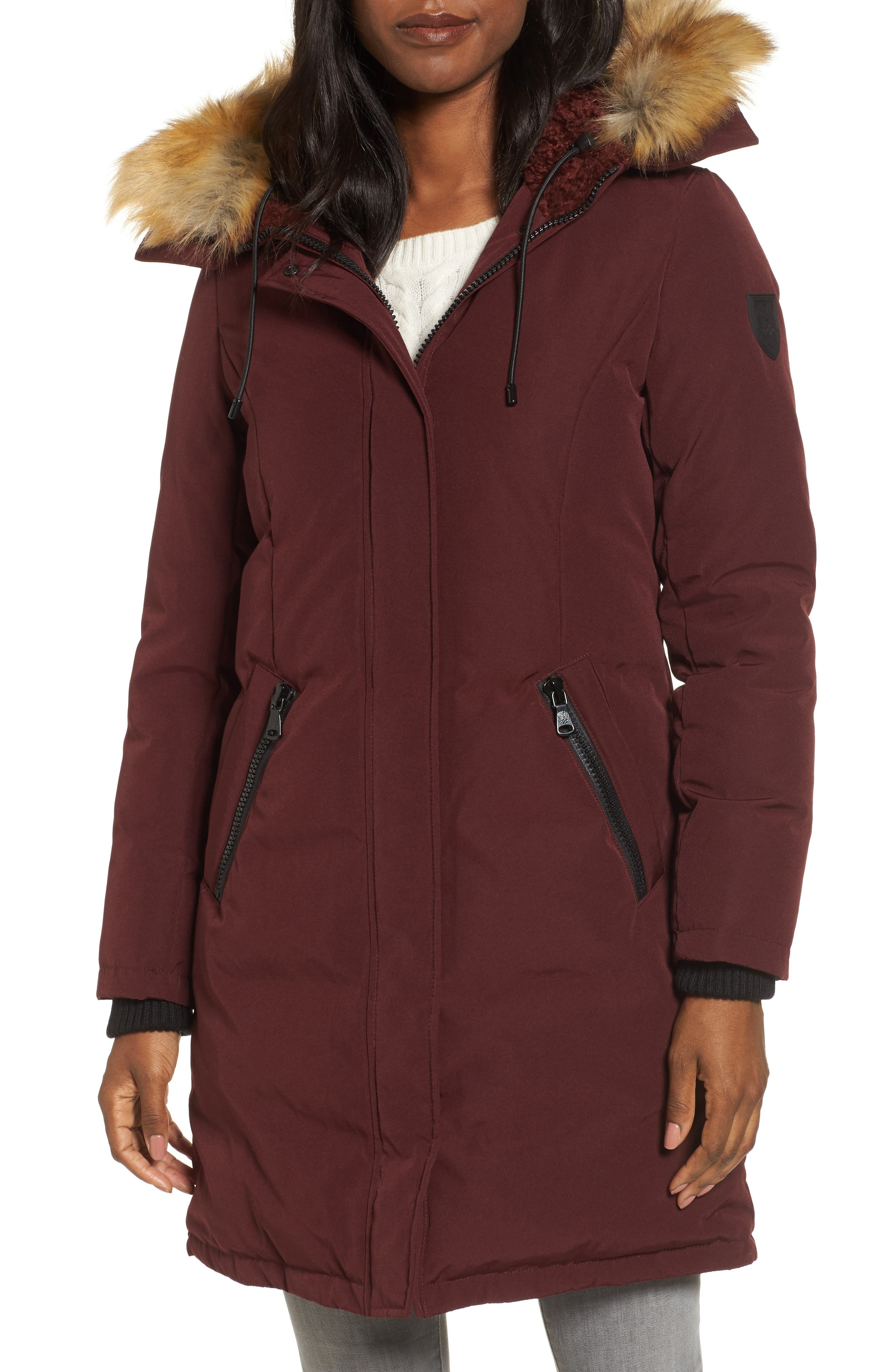 Down & Feather Fill Parka with Faux Fur Trim,                         Main,                         color, Burgundy