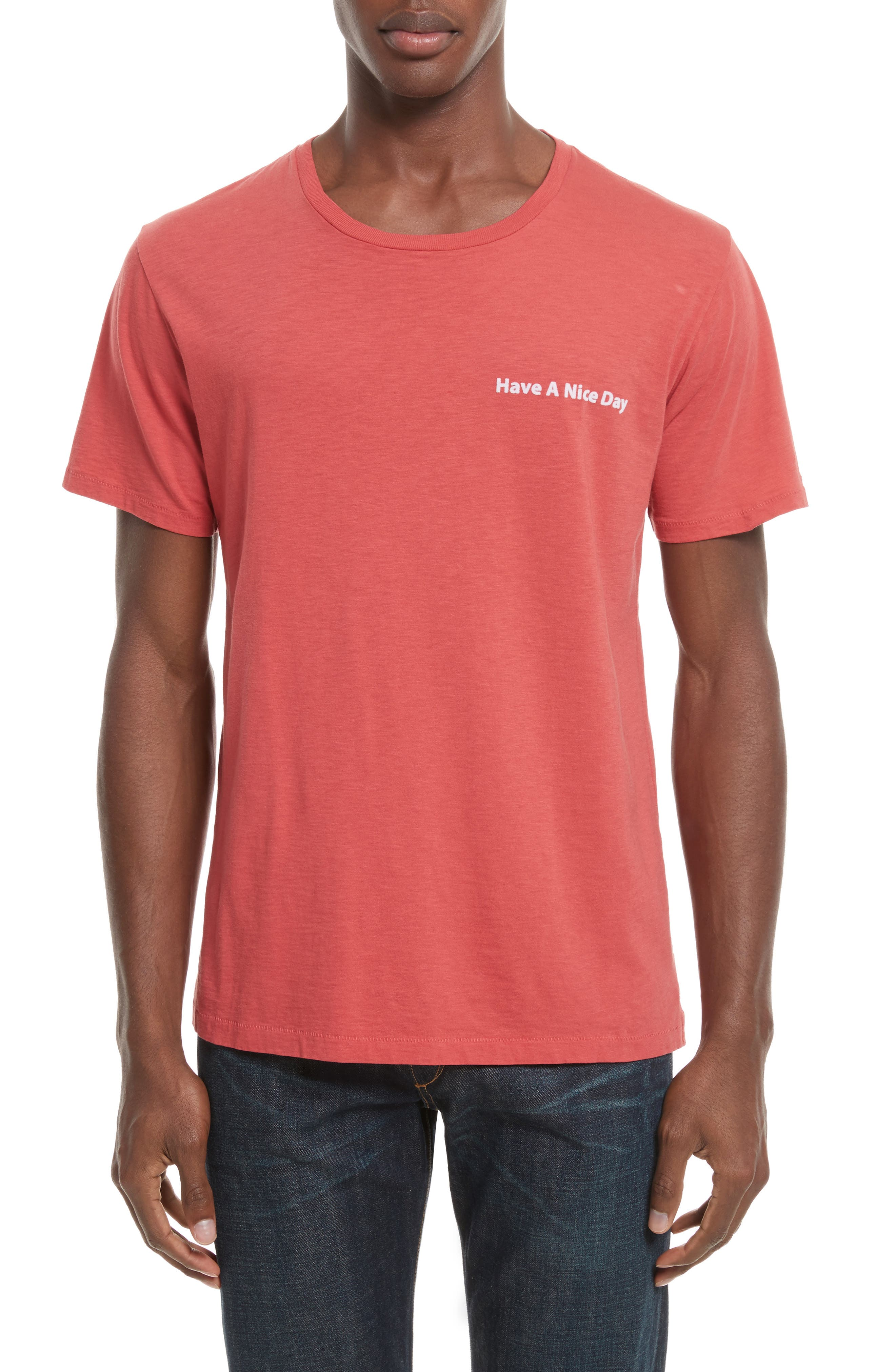 Have a Nice Day Embroidered T-Shirt,                             Main thumbnail 1, color,                             Washed Red