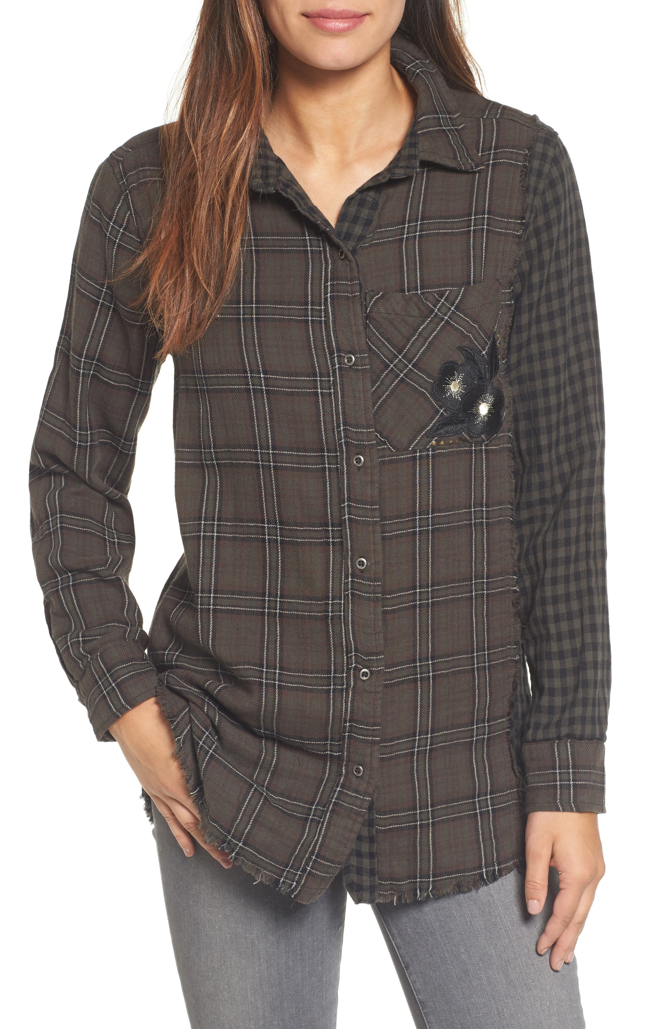 Contrast Sleeve Button-Down Top,                         Main,                         color, Brindle Olive