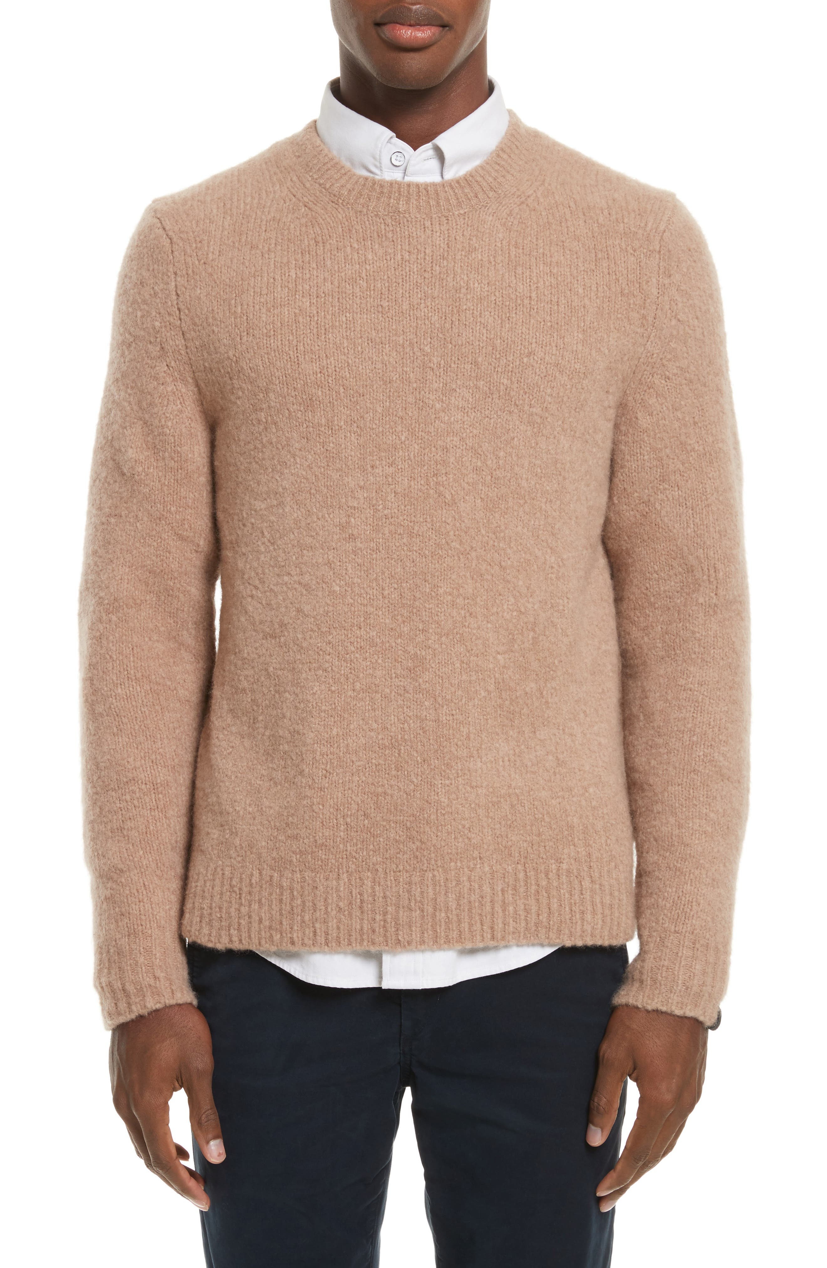 Charles Merino Wool Blend Sweater,                             Main thumbnail 1, color,                             Camel