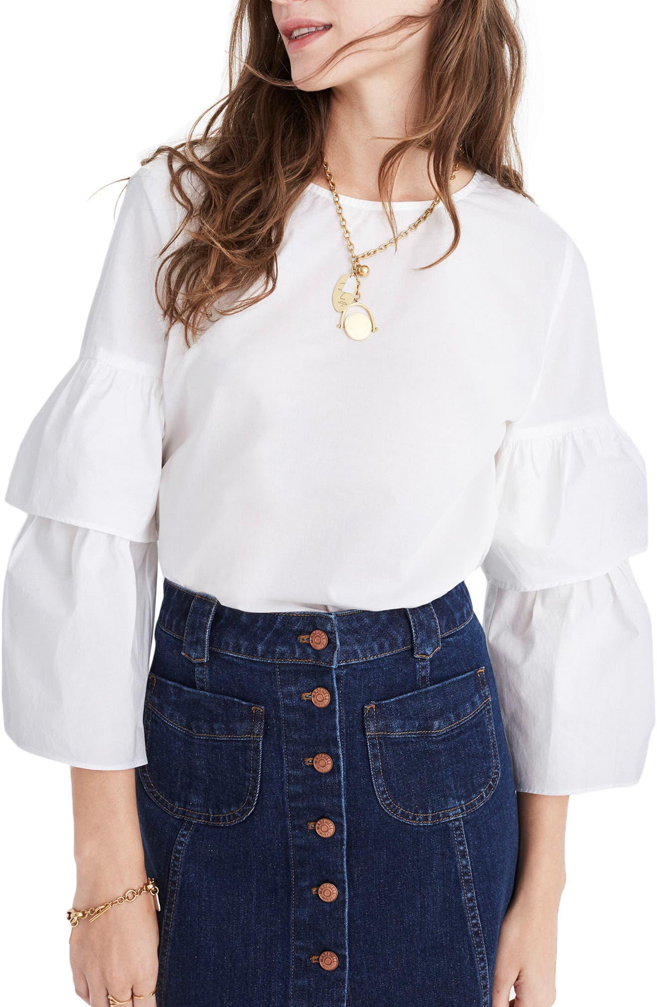 Tiered Sleeve Poplin Top,                         Main,                         color, Bright Ivory