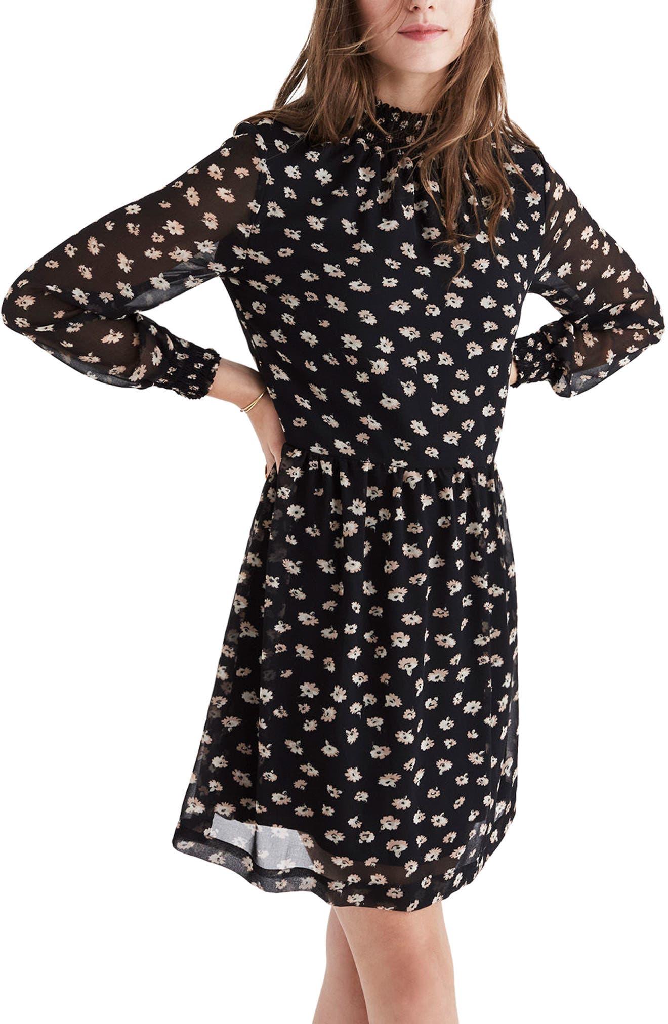 Mistlight Mock Neck Dress,                         Main,                         color, Seattle Floral True Black