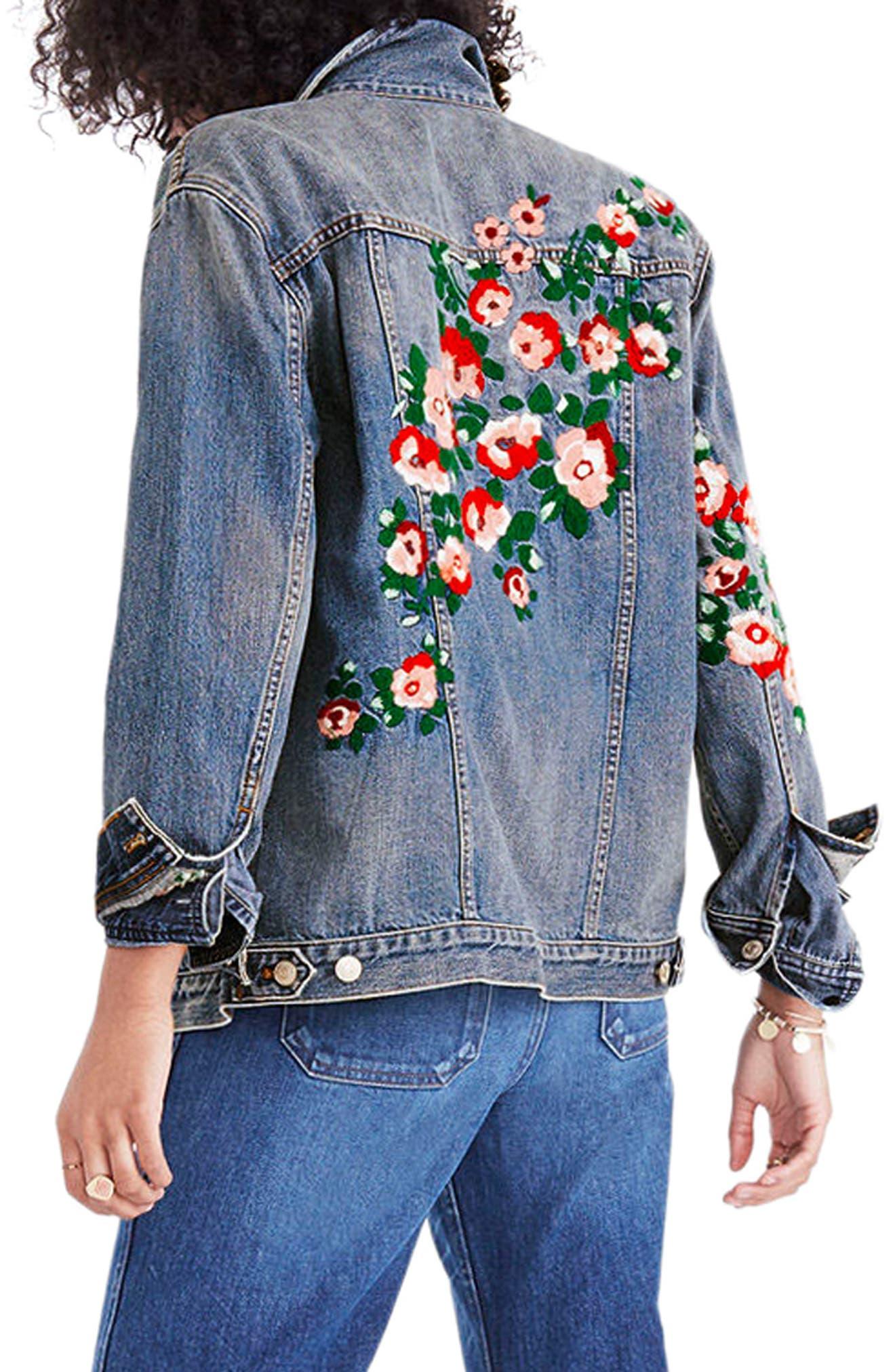 Embroidered Denim Jacket,                             Alternate thumbnail 2, color,                             Redding Wash