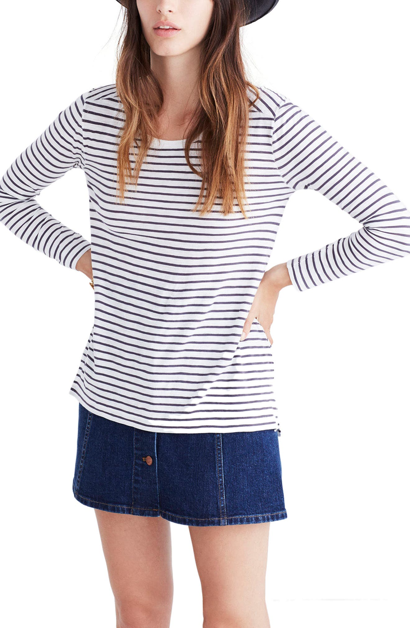 Alternate Image 3  - Madewell Whisper Cotton Stripe Long Sleeve Tee