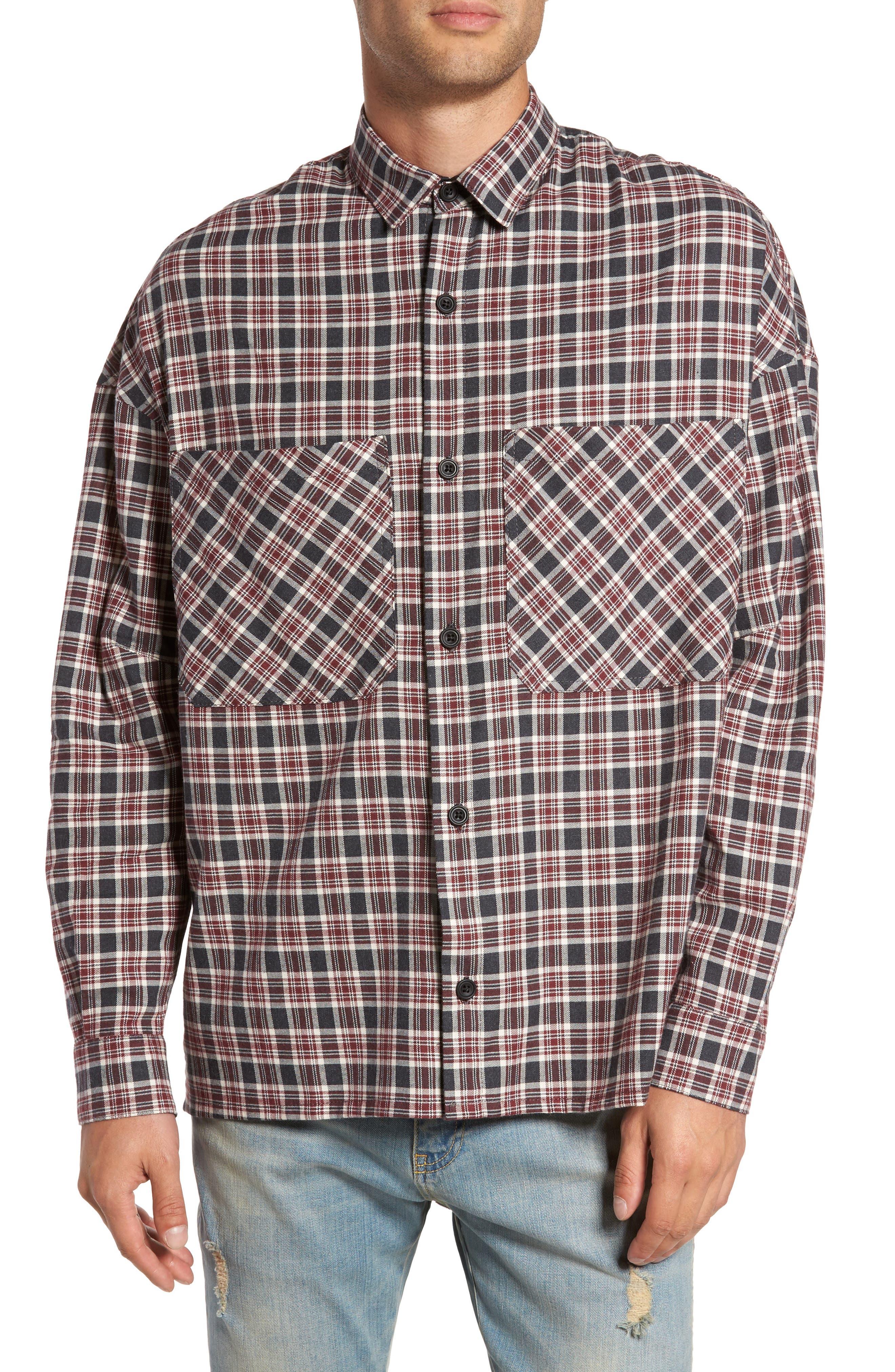 Standard Fit Plaid Sport Shirt,                             Main thumbnail 1, color,                             Huckleberry