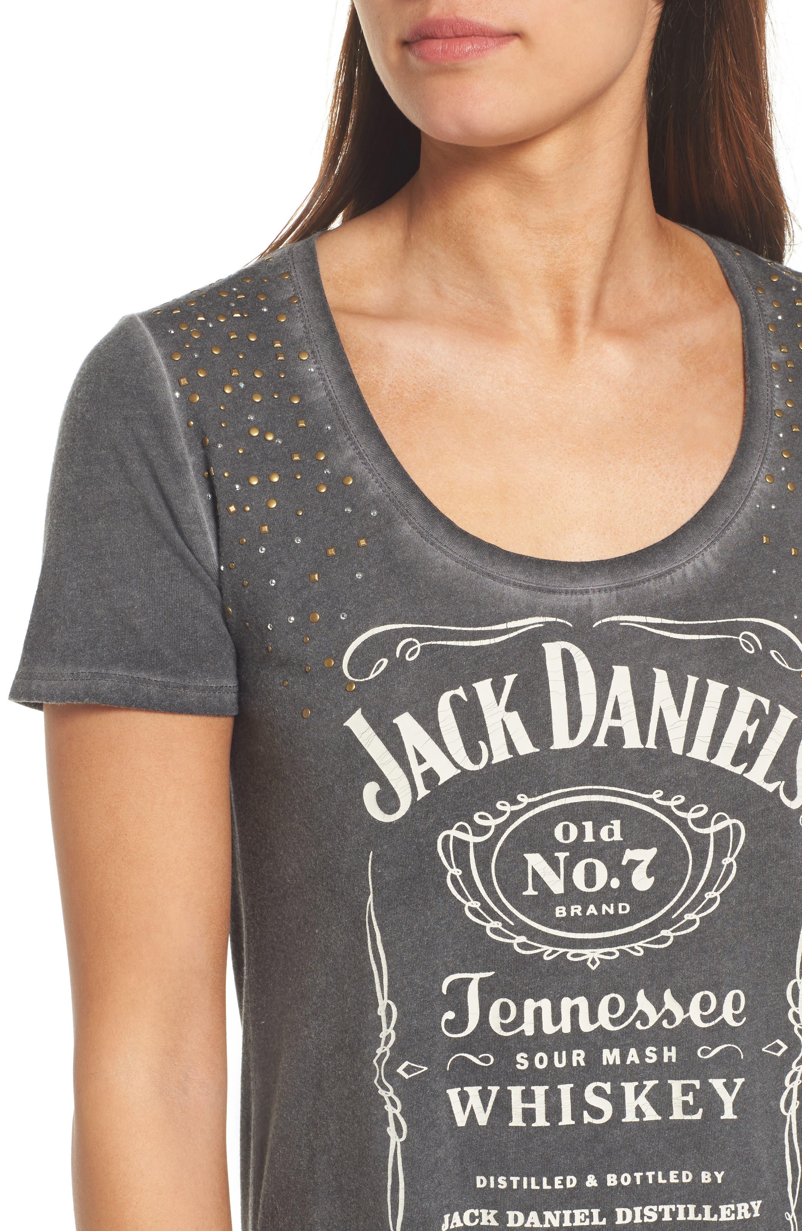 Studded Jack Daniels Tee,                             Alternate thumbnail 4, color,                             Lucky Black