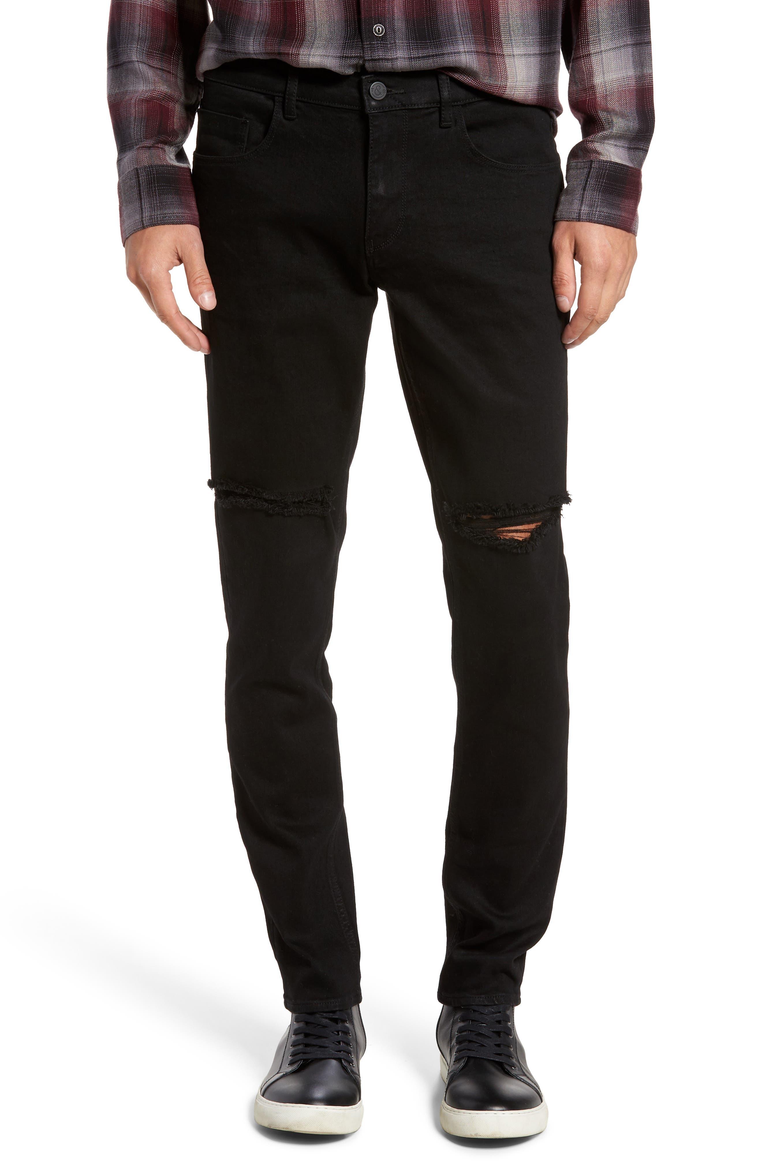 Slim Fit Destroyed Jeans,                             Main thumbnail 1, color,                             Black Rock