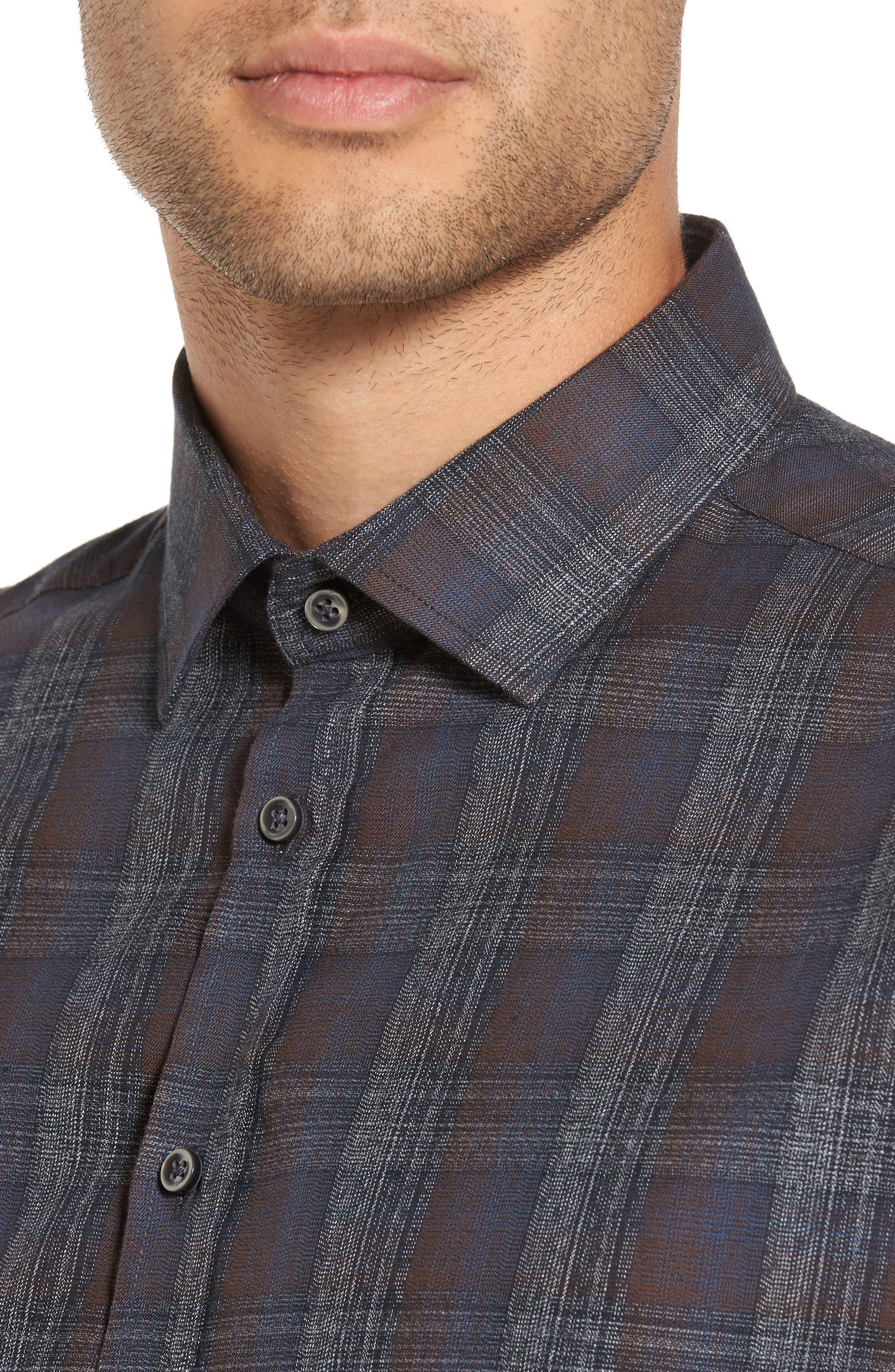 Trim Fit Plaid Sport Shirt,                             Alternate thumbnail 4, color,                             290 Brown Grey Plaid