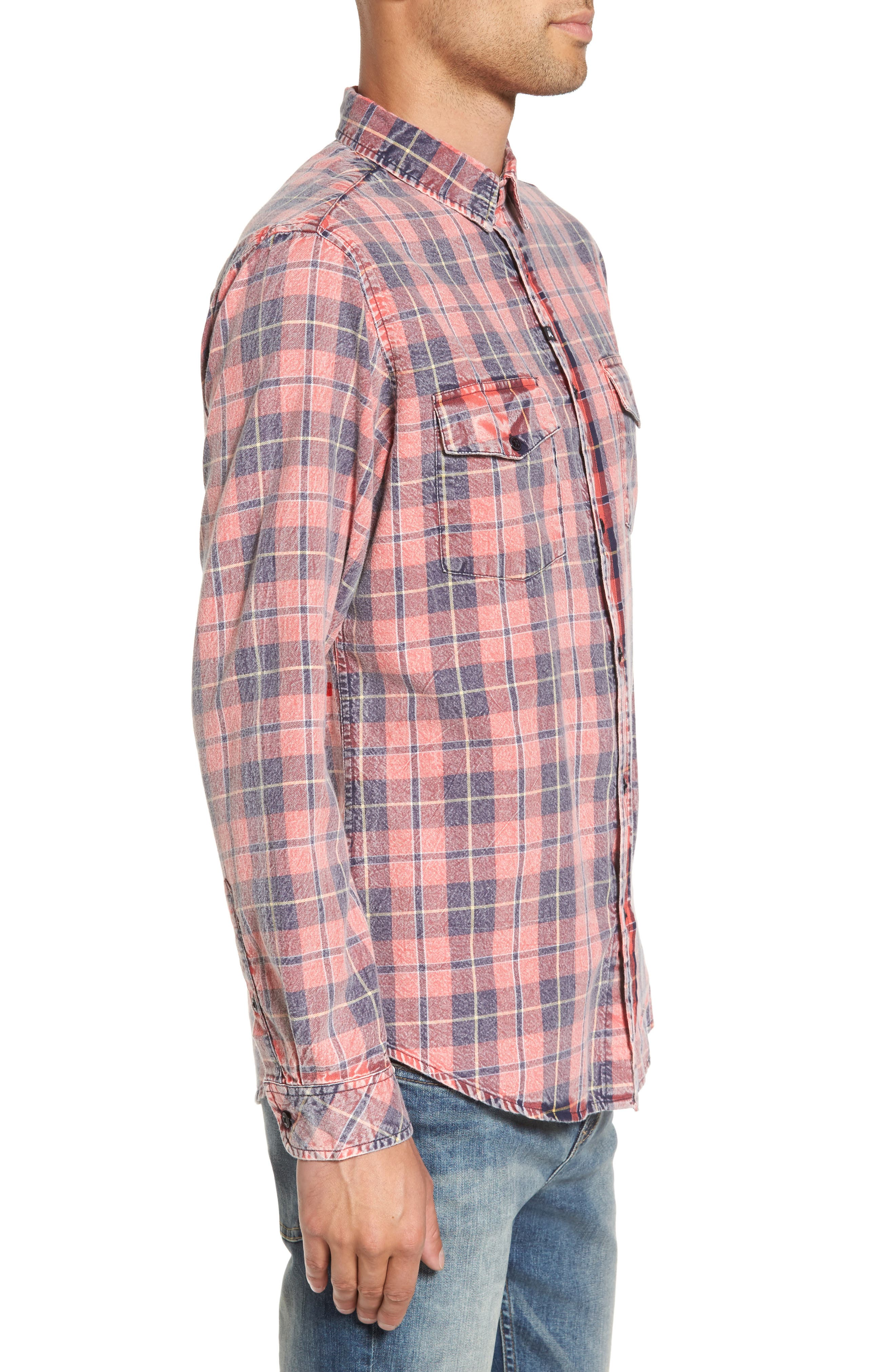 Greenwich Flannel Shirt,                             Alternate thumbnail 3, color,                             Faded Red