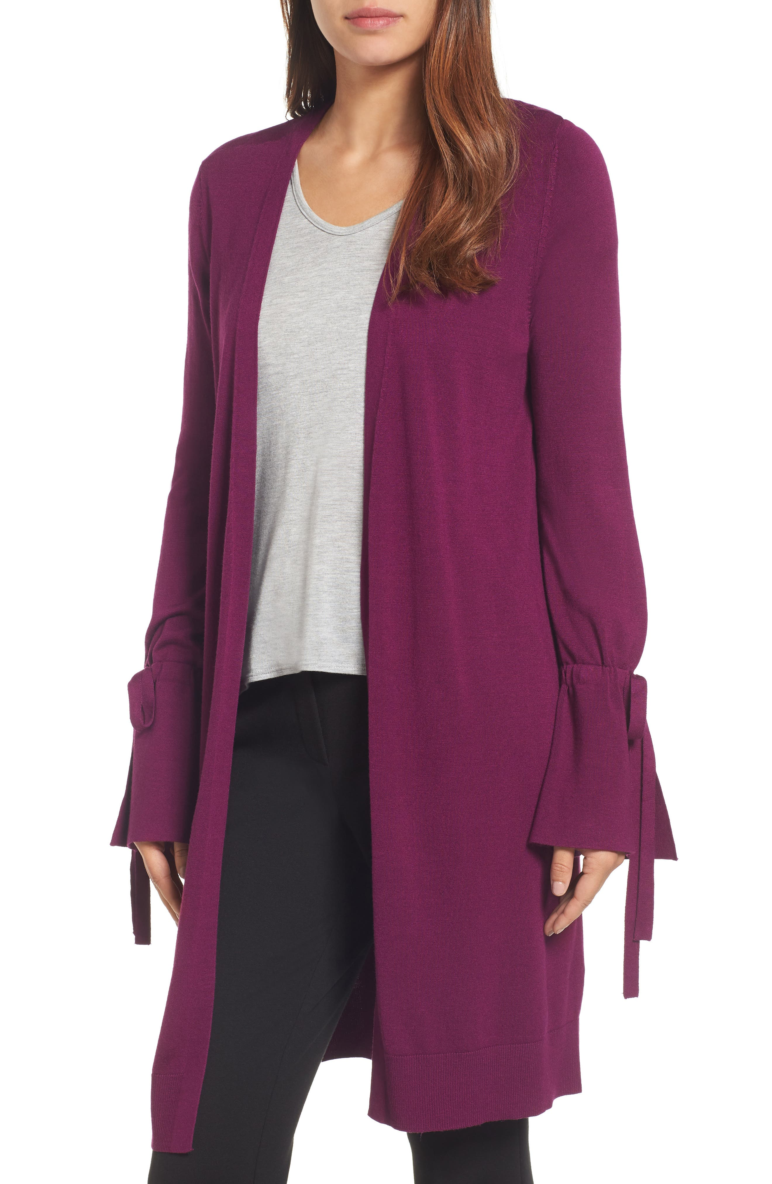 Lightweight Tie Sleeve Cardigan,                             Main thumbnail 1, color,                             Purple Dark