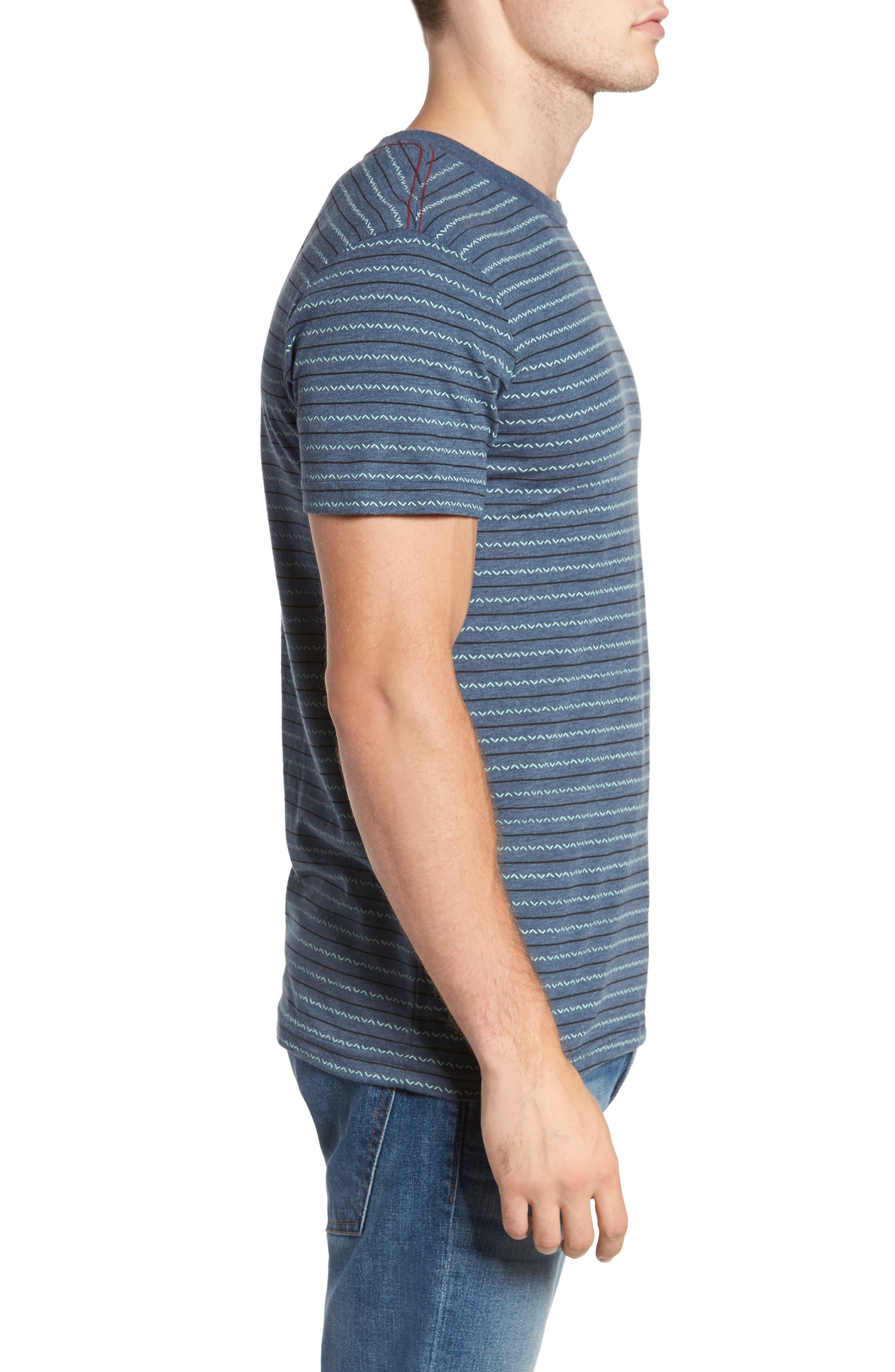 Chevron Stripe T-Shirt,                             Alternate thumbnail 3, color,                             Dark Denim
