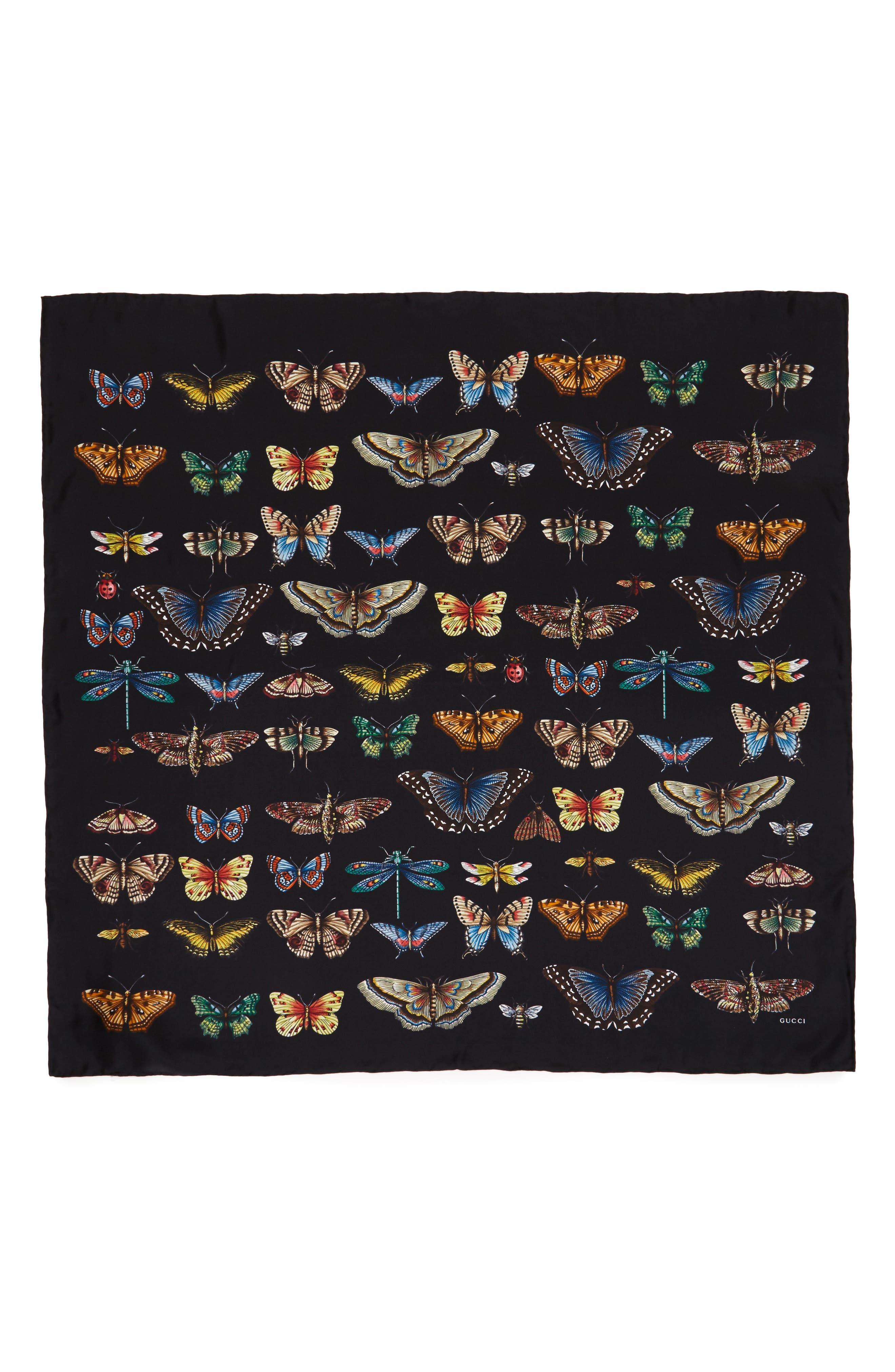Butterflies Foulard Silk Scarf,                             Main thumbnail 1, color,                             Black