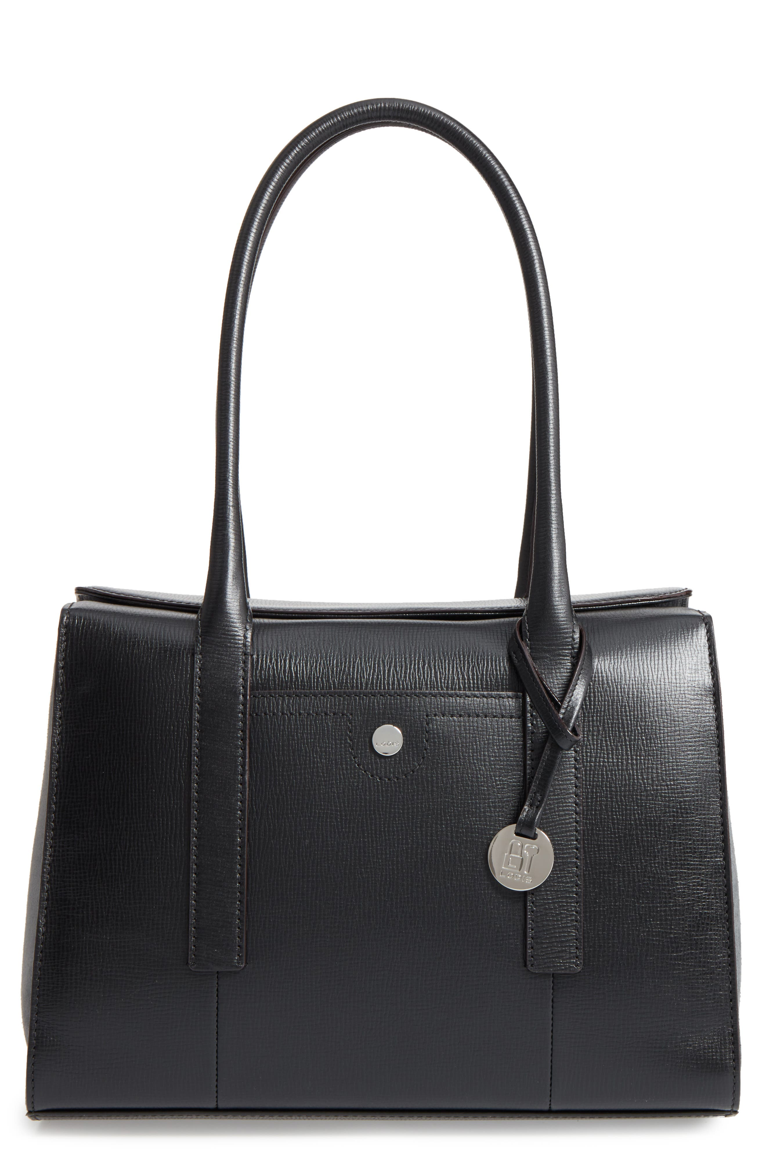 Business Chic Paula RFID-Protected Coated Leather & Suede Brief Shoulder Bag,                             Main thumbnail 1, color,                             Black