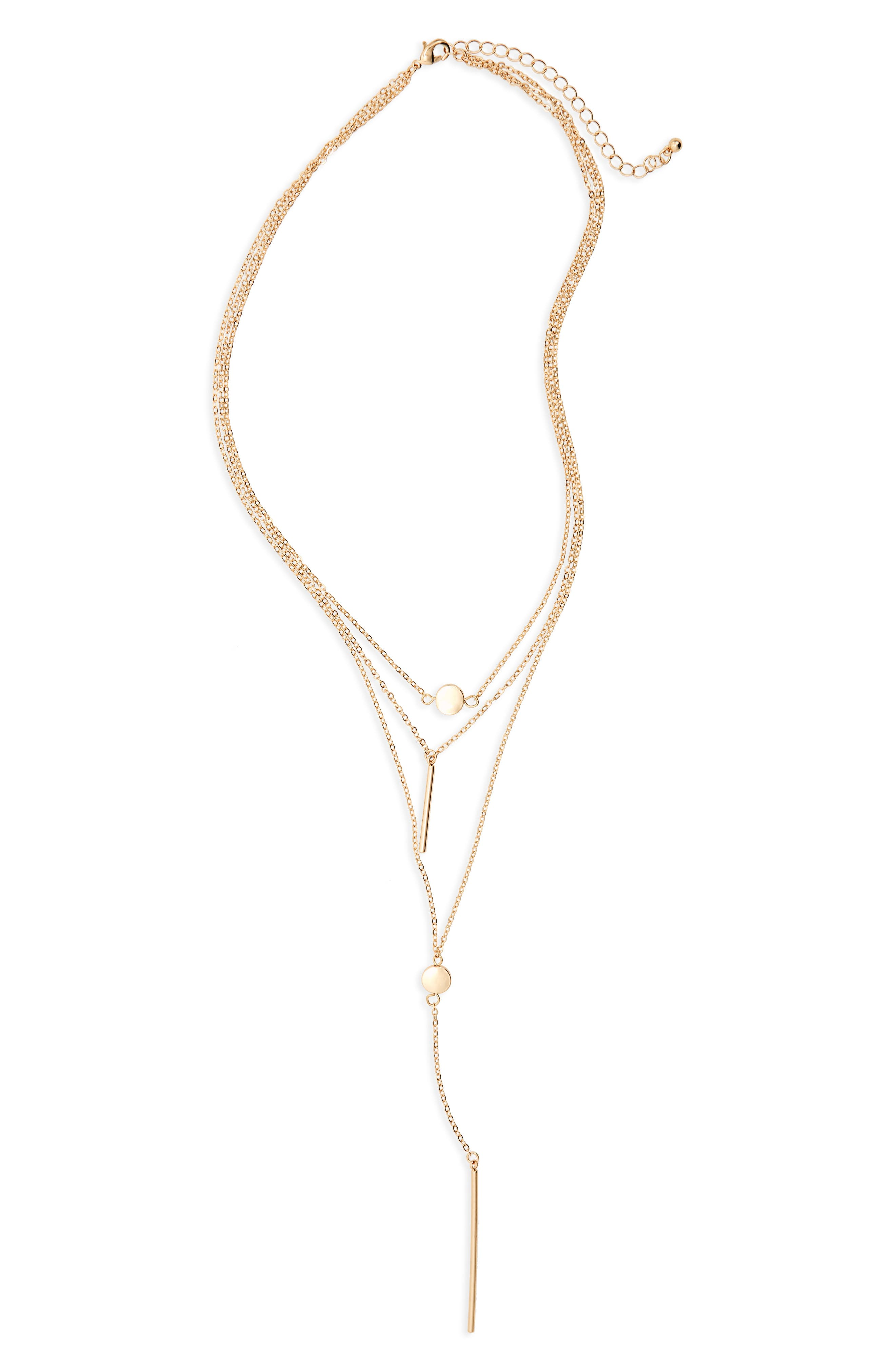 BP. Disc & Bar Charm Layered Necklace